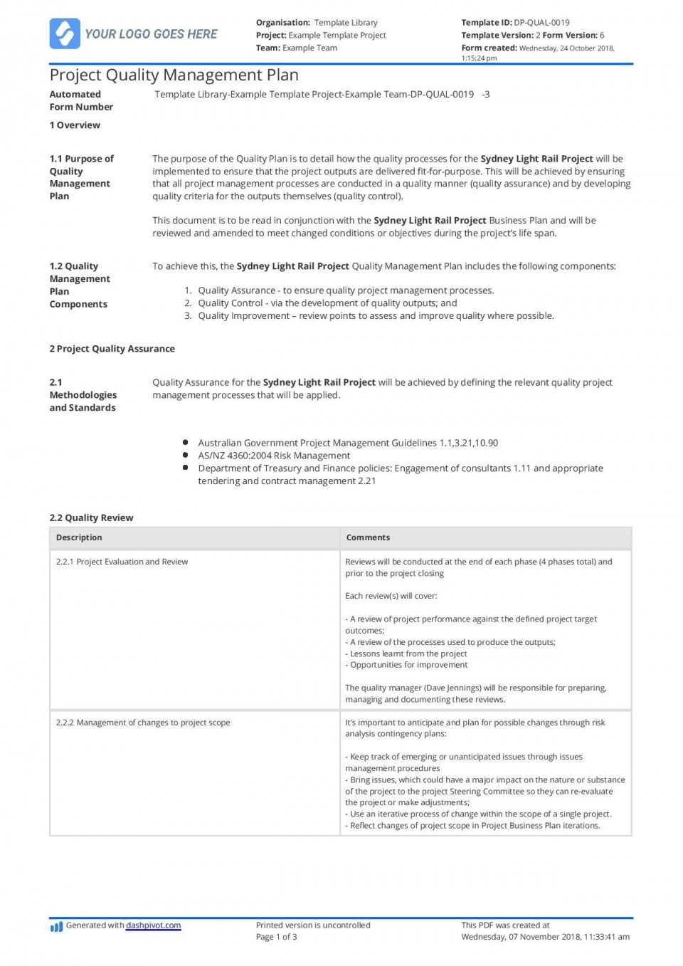 003 Awesome Quality Management Plan Template Highest Clarity  Sample Pdf Example In Construction Doc960