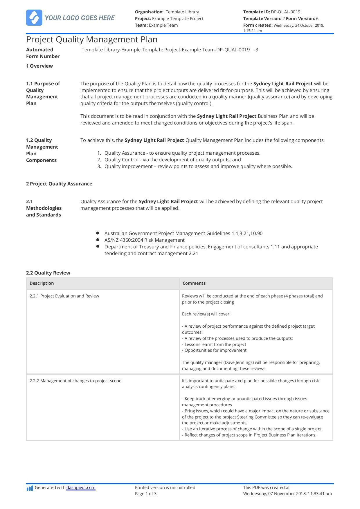 003 Awesome Quality Management Plan Template Highest Clarity  Templates Sample Pdf ConstructionFull