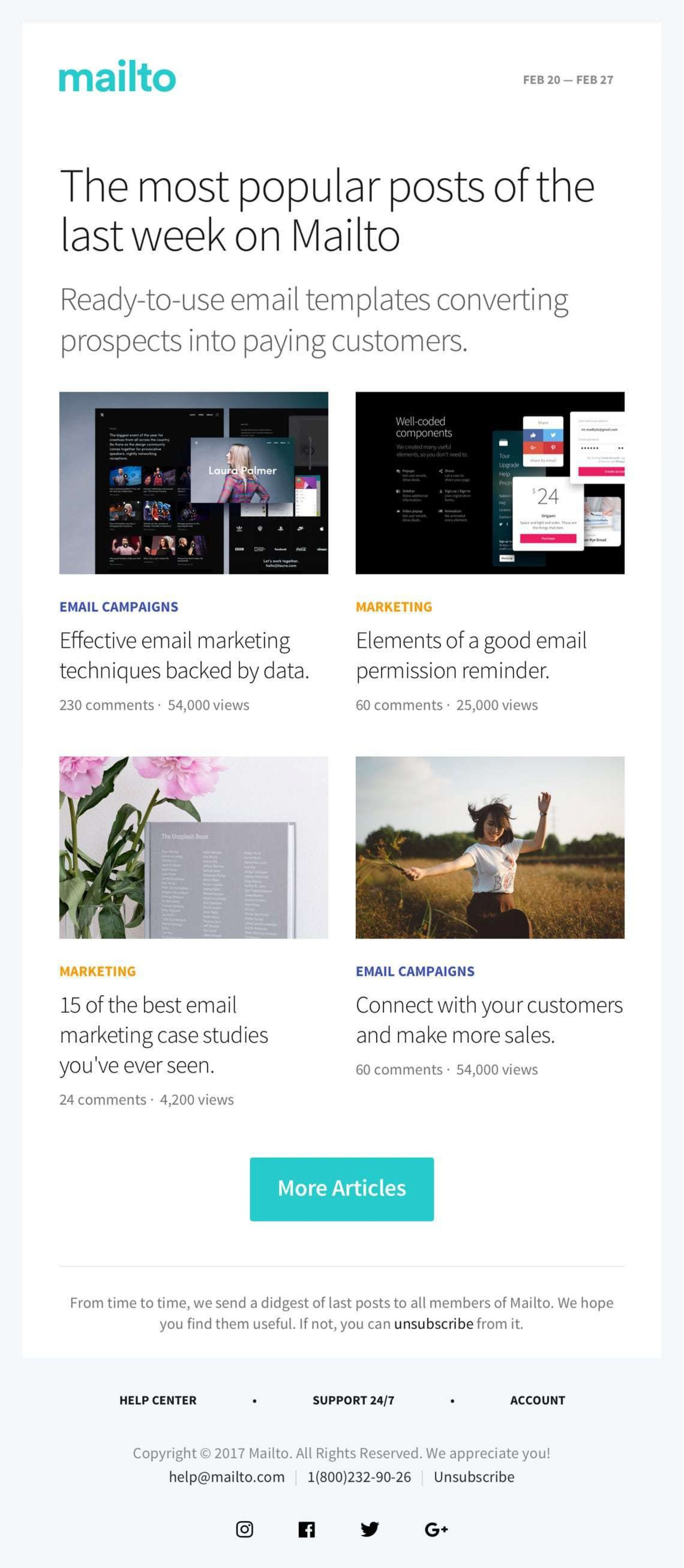003 Awesome Responsive Email Newsletter Template Free Download Example 1920