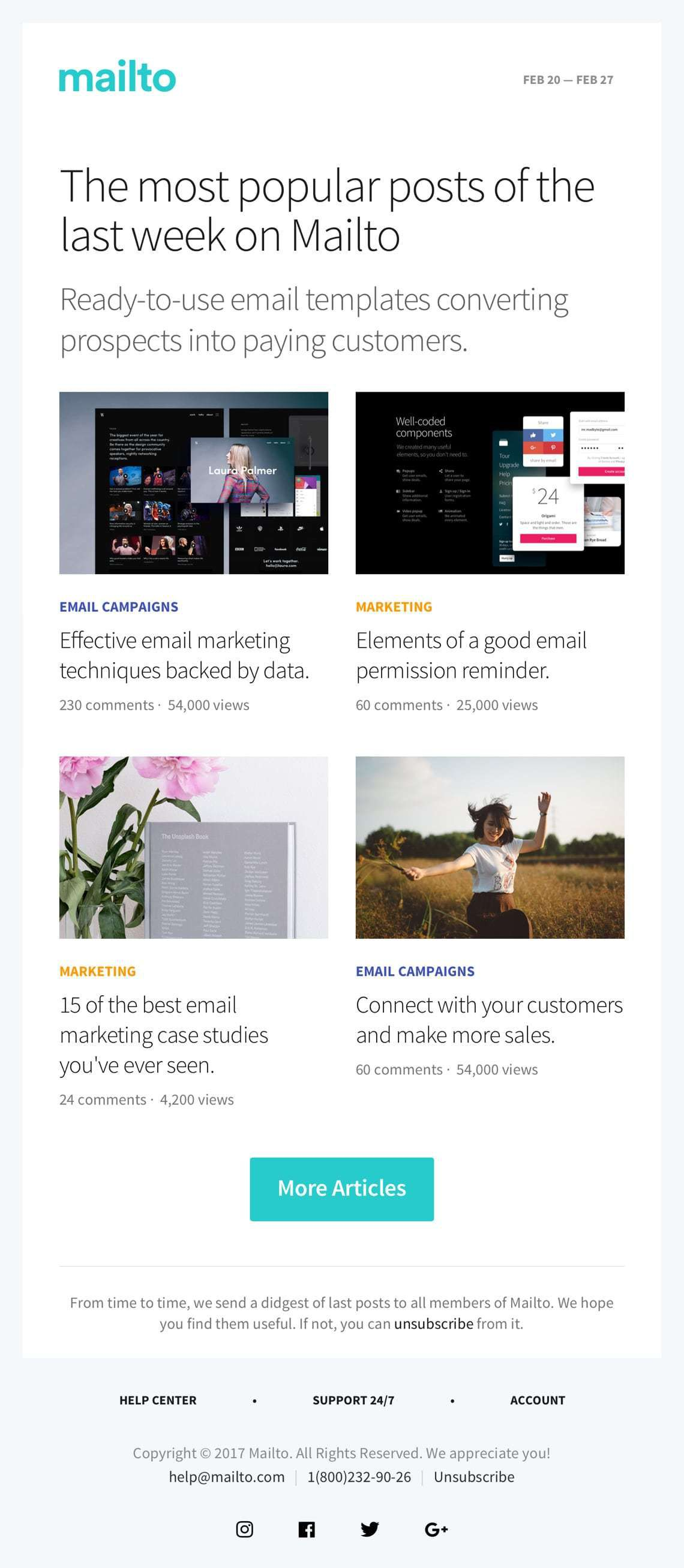 003 Awesome Responsive Email Newsletter Template Free Download Example Full