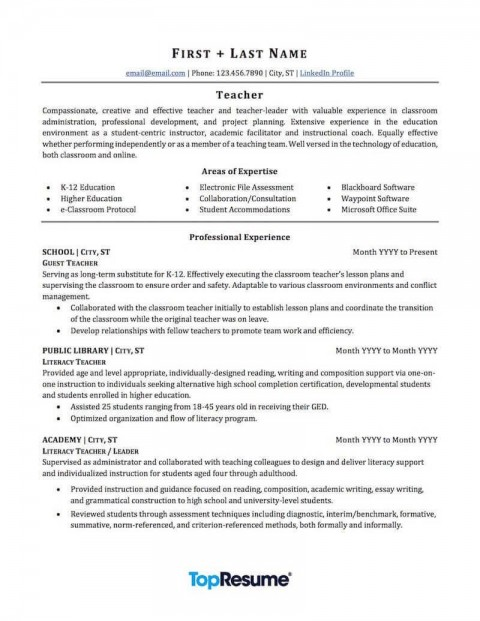 003 Awesome Resume Template For Teaching Sample  Example Assistant Cv Uk Job480