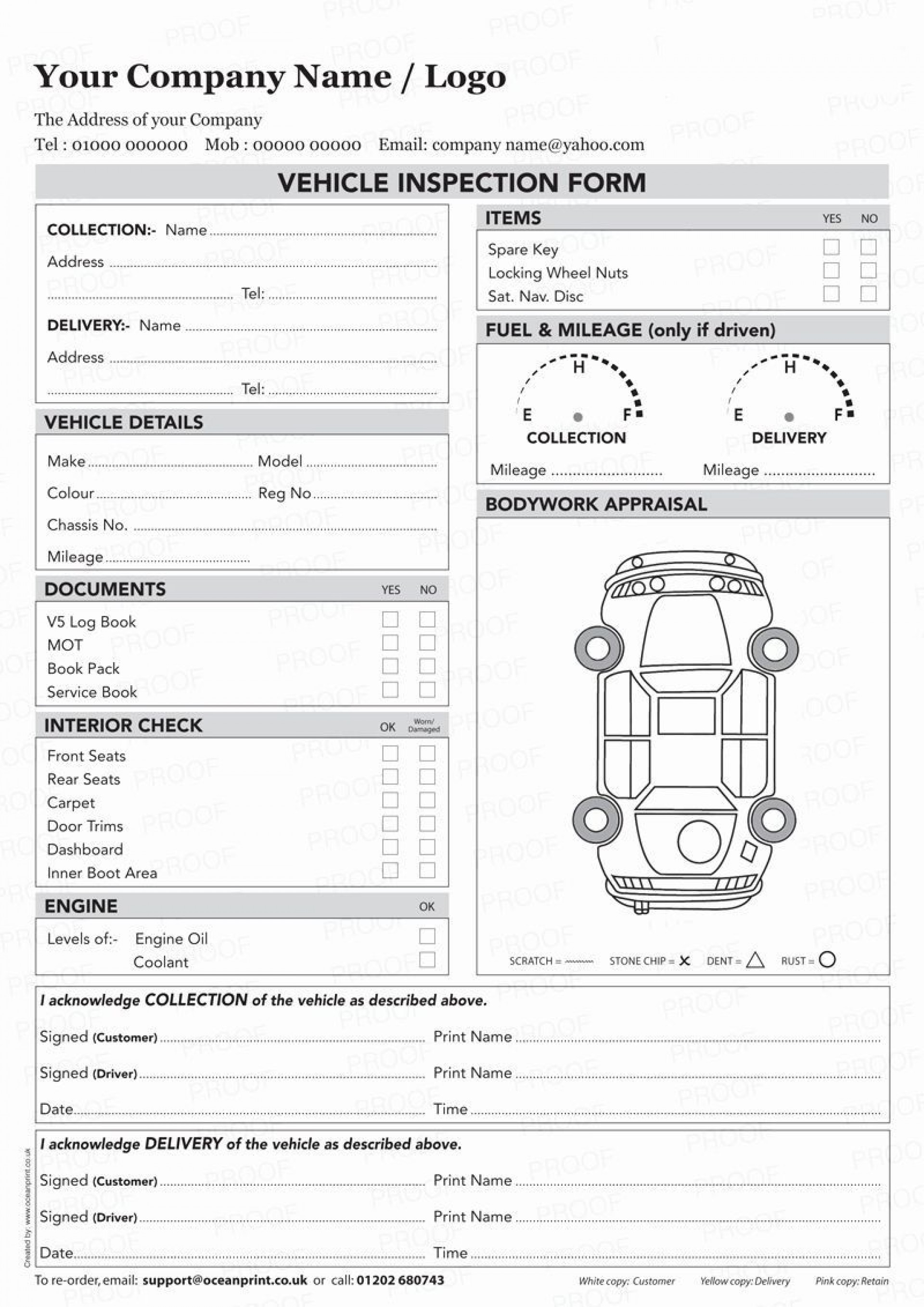 003 Awesome Vehicle Inspection Form Template Sample  Printable Pdf Word1920