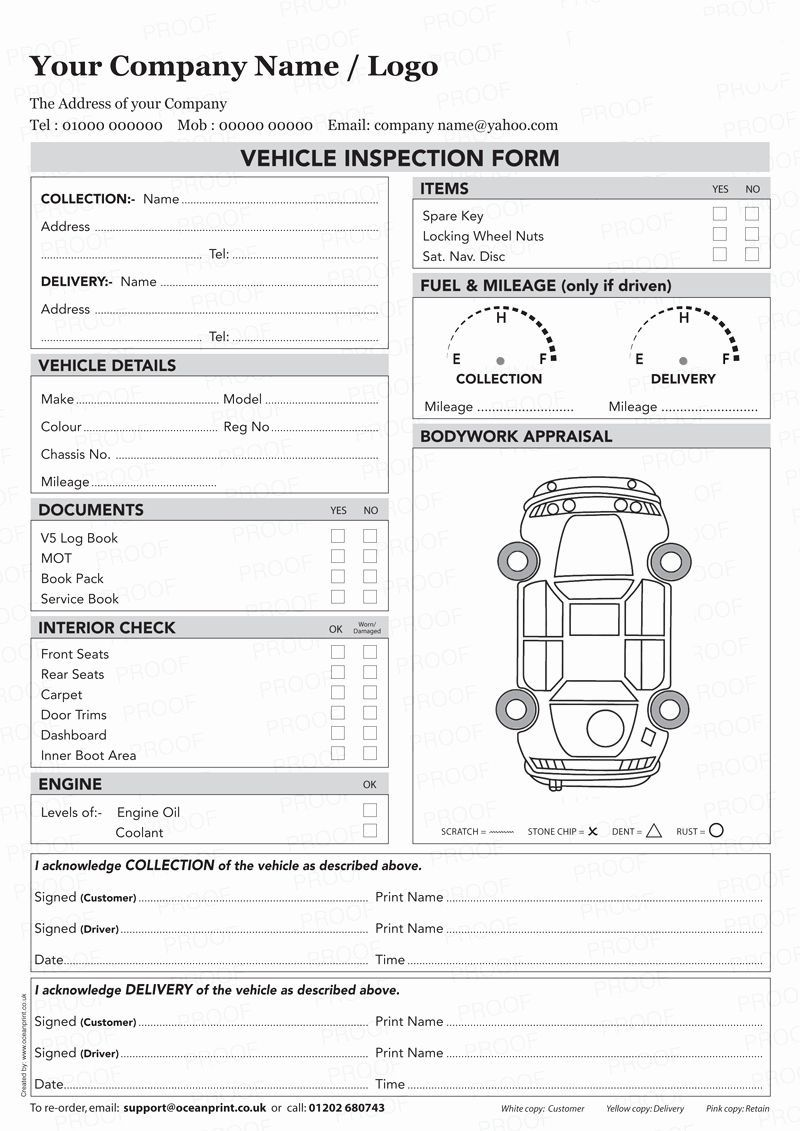 003 Awesome Vehicle Inspection Form Template Sample  Printable Pdf WordFull