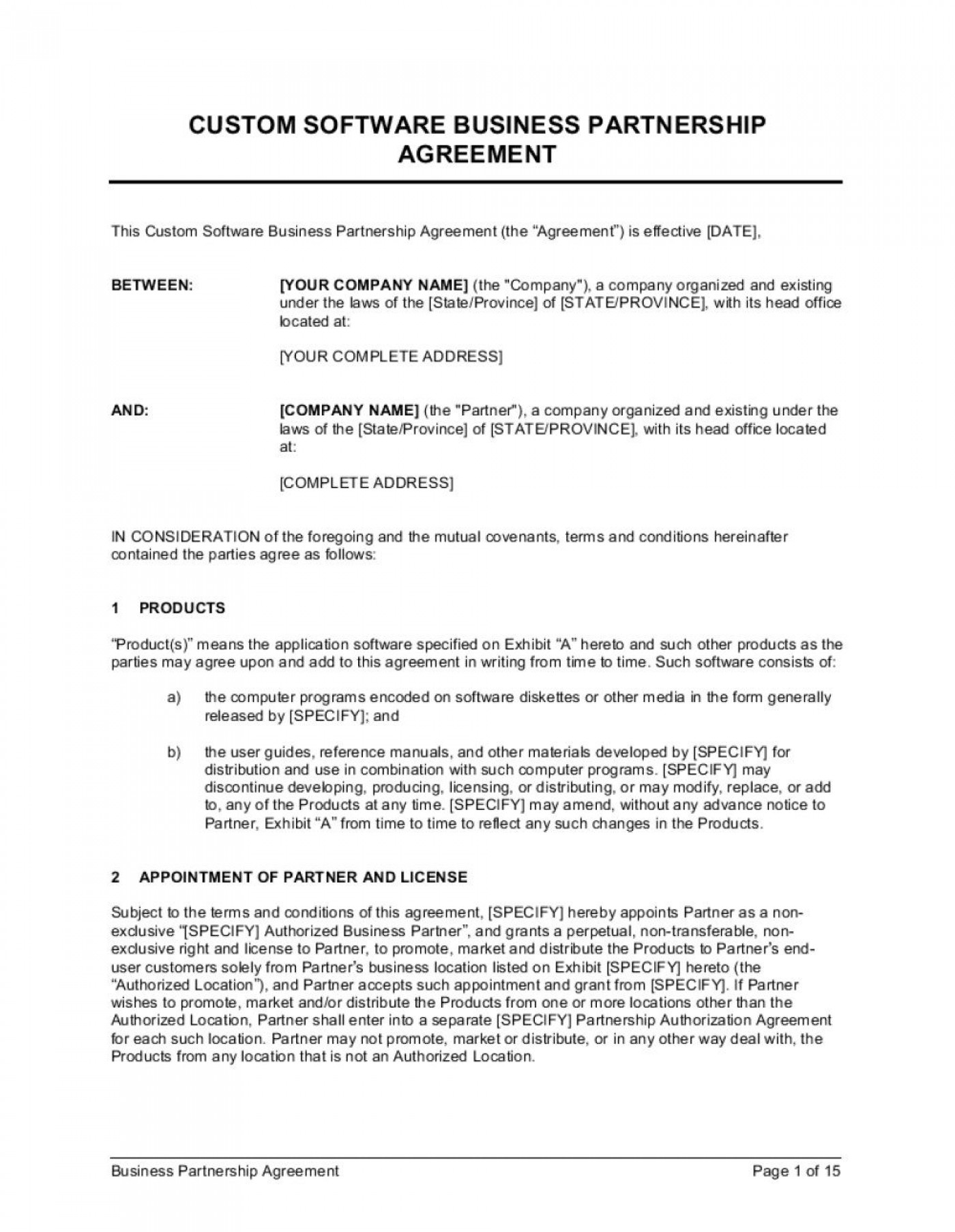 003 Awful Busines Partnership Contract Template Picture  Agreement Free Nz Word1400