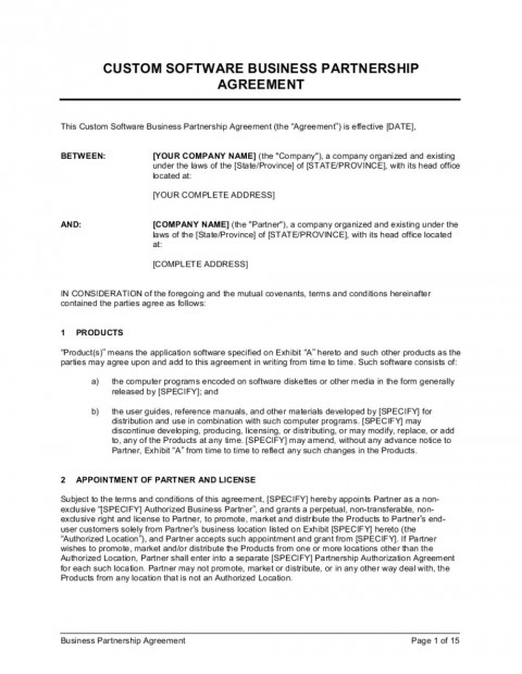 003 Awful Busines Partnership Contract Template Picture  Agreement Free Nz Word480