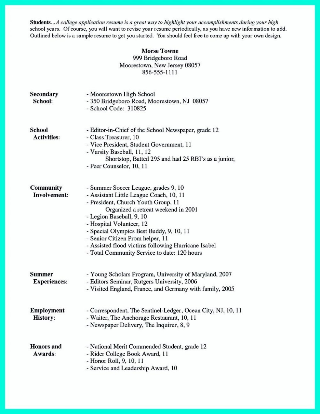 003 Awful College Admission Resume Template Sample  Microsoft Word Application DownloadLarge