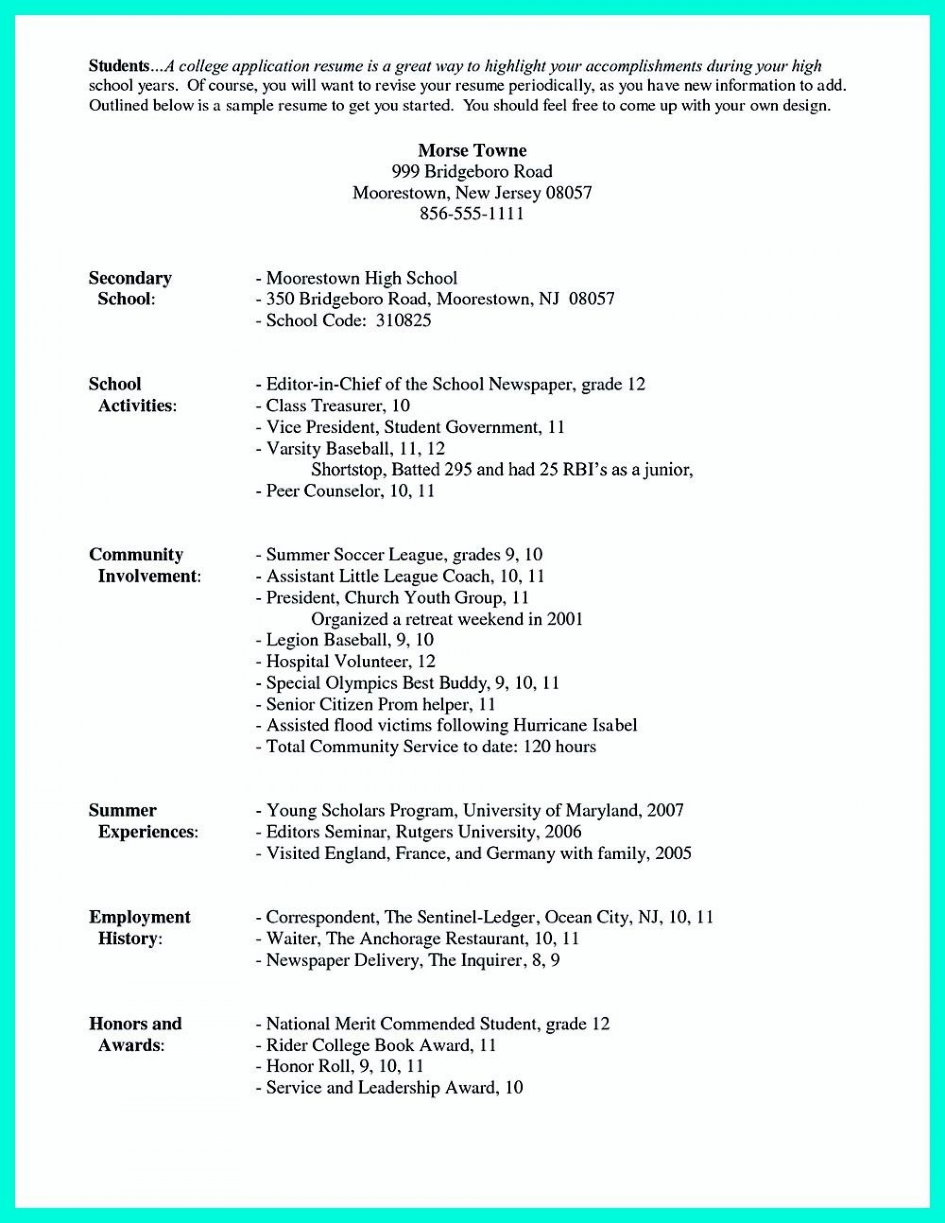 003 Awful College Admission Resume Template Sample  Microsoft Word Application Download1920