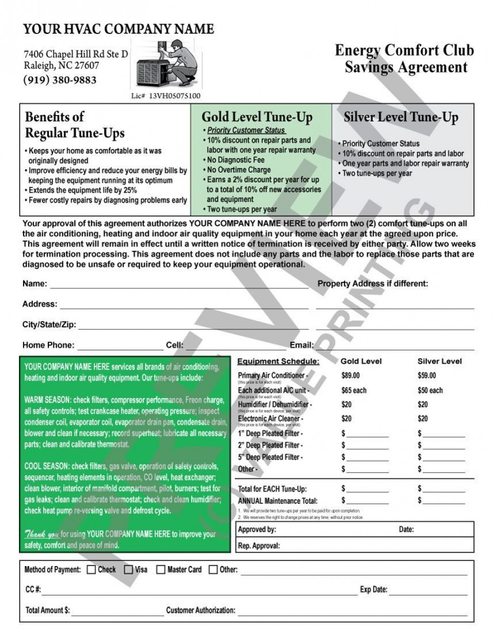003 Awful Commercial Hvac Service Agreement Template High Def  Maintenance Contract960