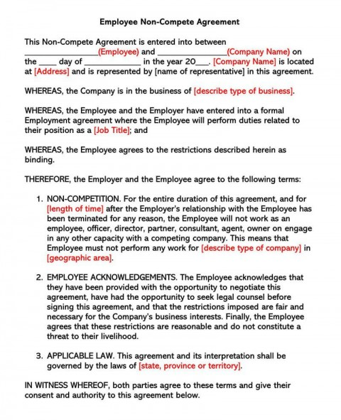 003 Awful Employee Non Compete Agreement Template Concept  Free Confidentiality Non-compete Disclosure480