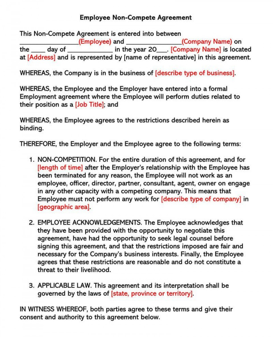003 Awful Employee Non Compete Agreement Template Concept  Free Confidentiality Non-compete Disclosure960