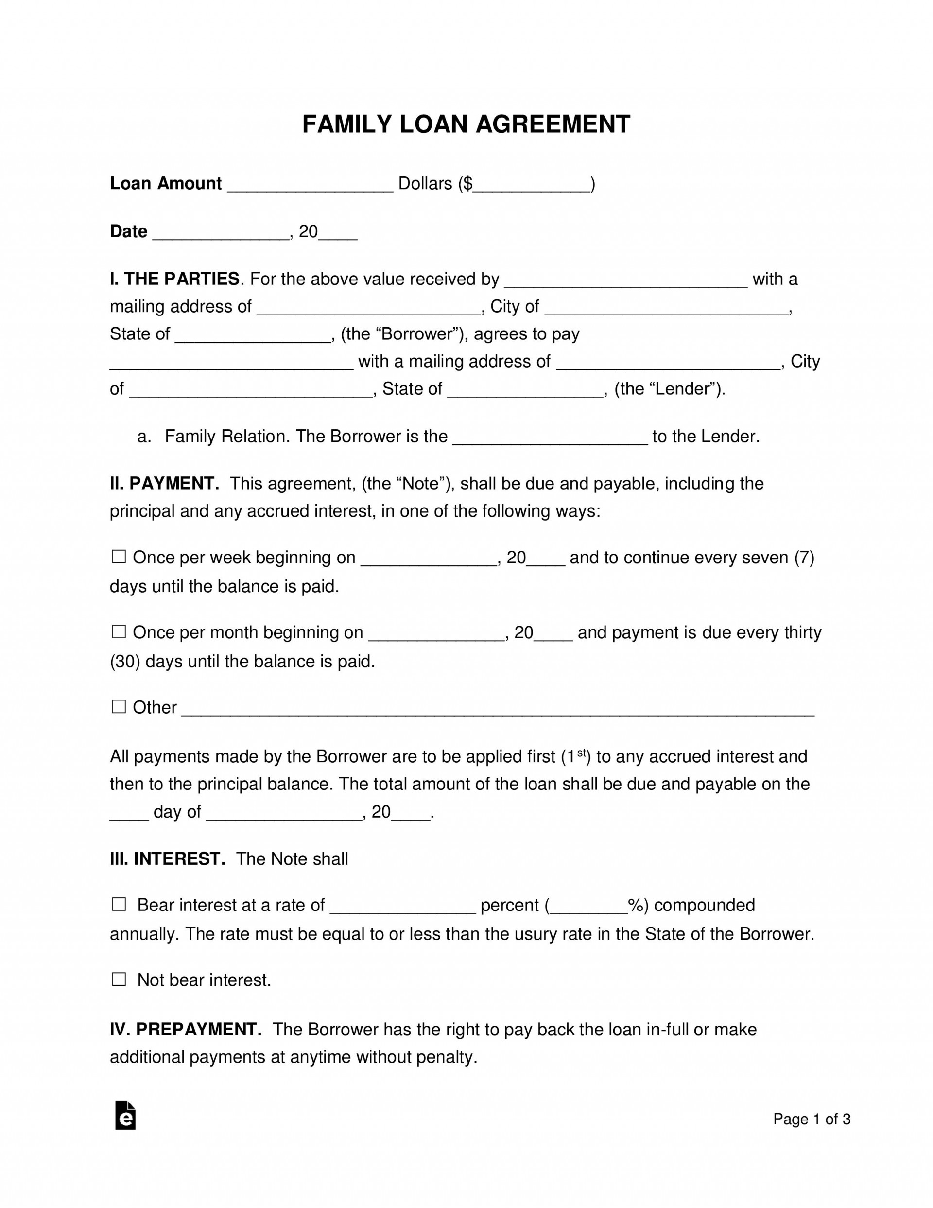 003 Awful Family Loan Agreement Template Idea  Nz Uk Free1920
