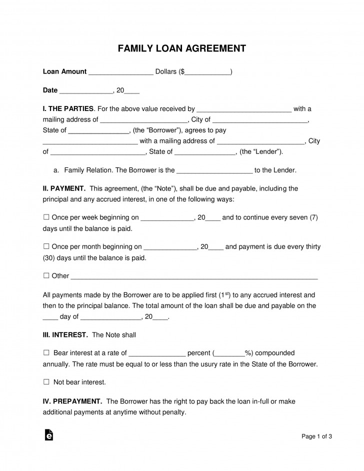 003 Awful Family Loan Agreement Template Idea  Nz Uk Free728