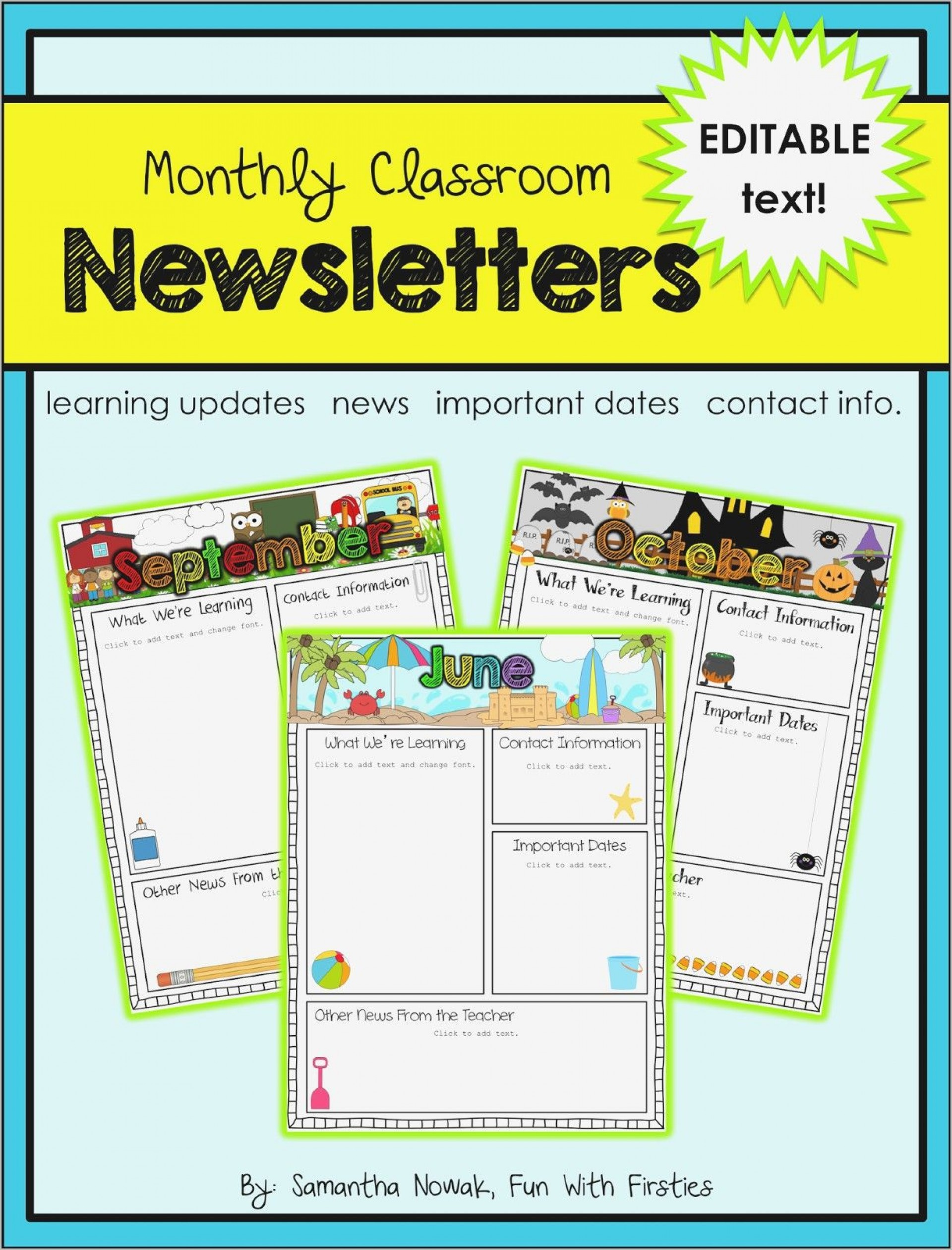 003 Awful Free Editable Daycare Newsletter Template For Word Idea  Classroom1920