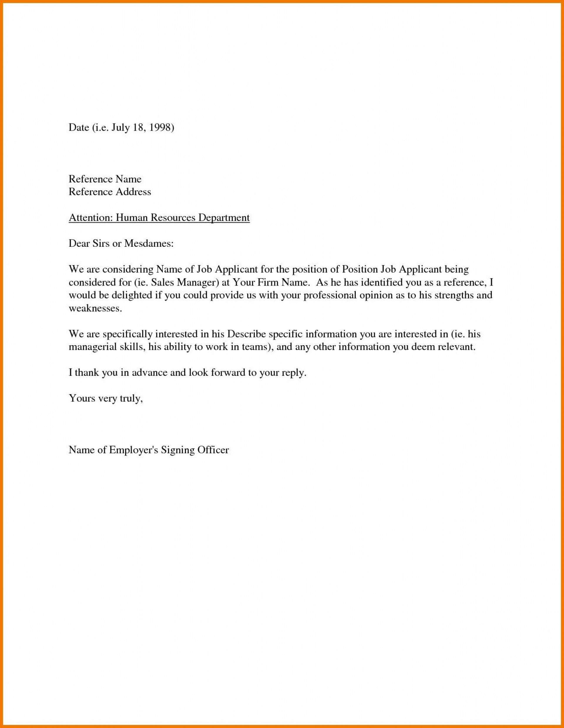 003 Awful Free Reference Letter Template High Definition  Personal Character For Employee Employment1920