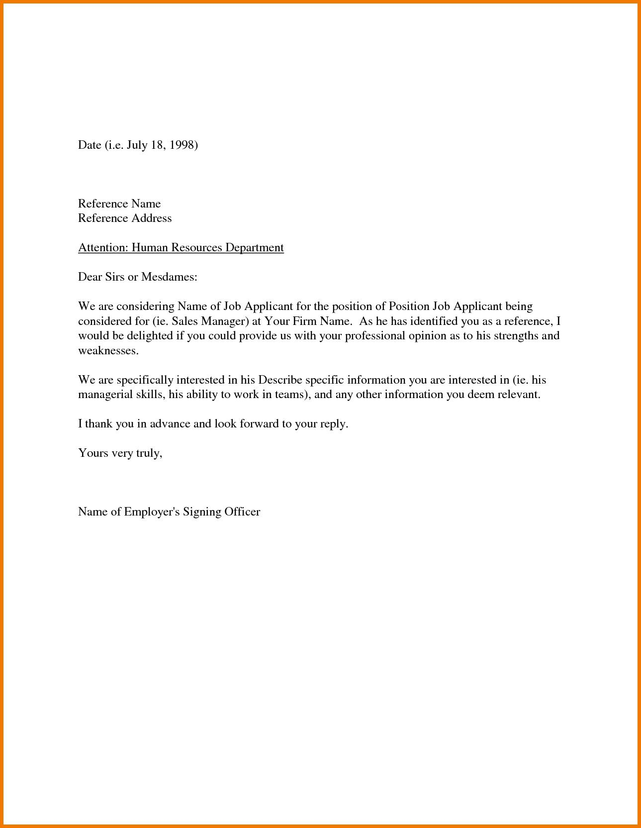 003 Awful Free Reference Letter Template High Definition  Personal Character For Employee EmploymentFull