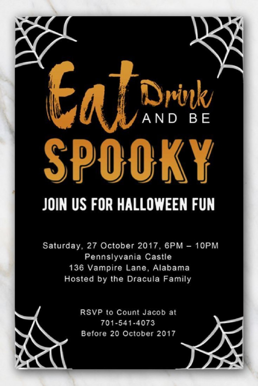 003 Awful Halloween Party Invite Template Idea  Templates - Free Printable Spooky Invitation BirthdayLarge