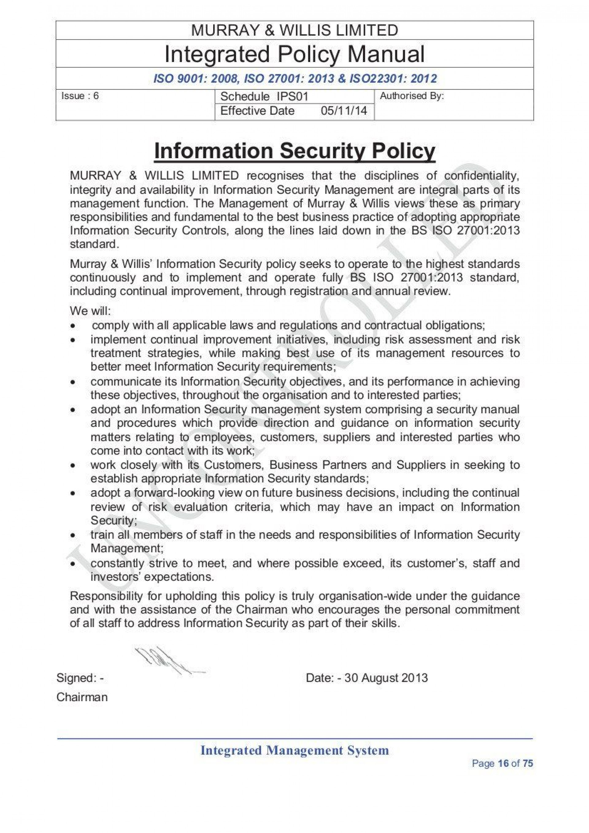 003 Awful It Security Policy Template Concept  Cyber Nist Australia Uk Free1920
