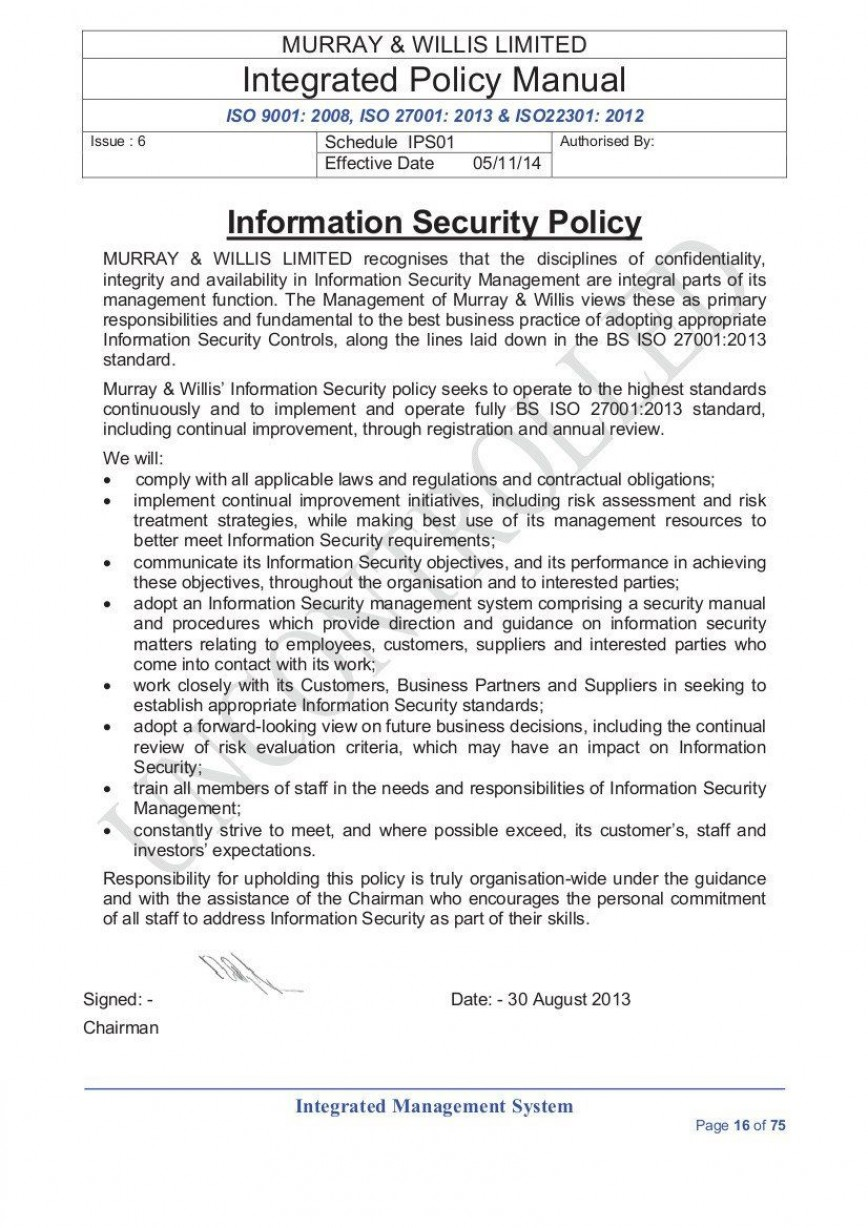 003 Awful It Security Policy Template Concept  Download Free For Small Busines Pdf868