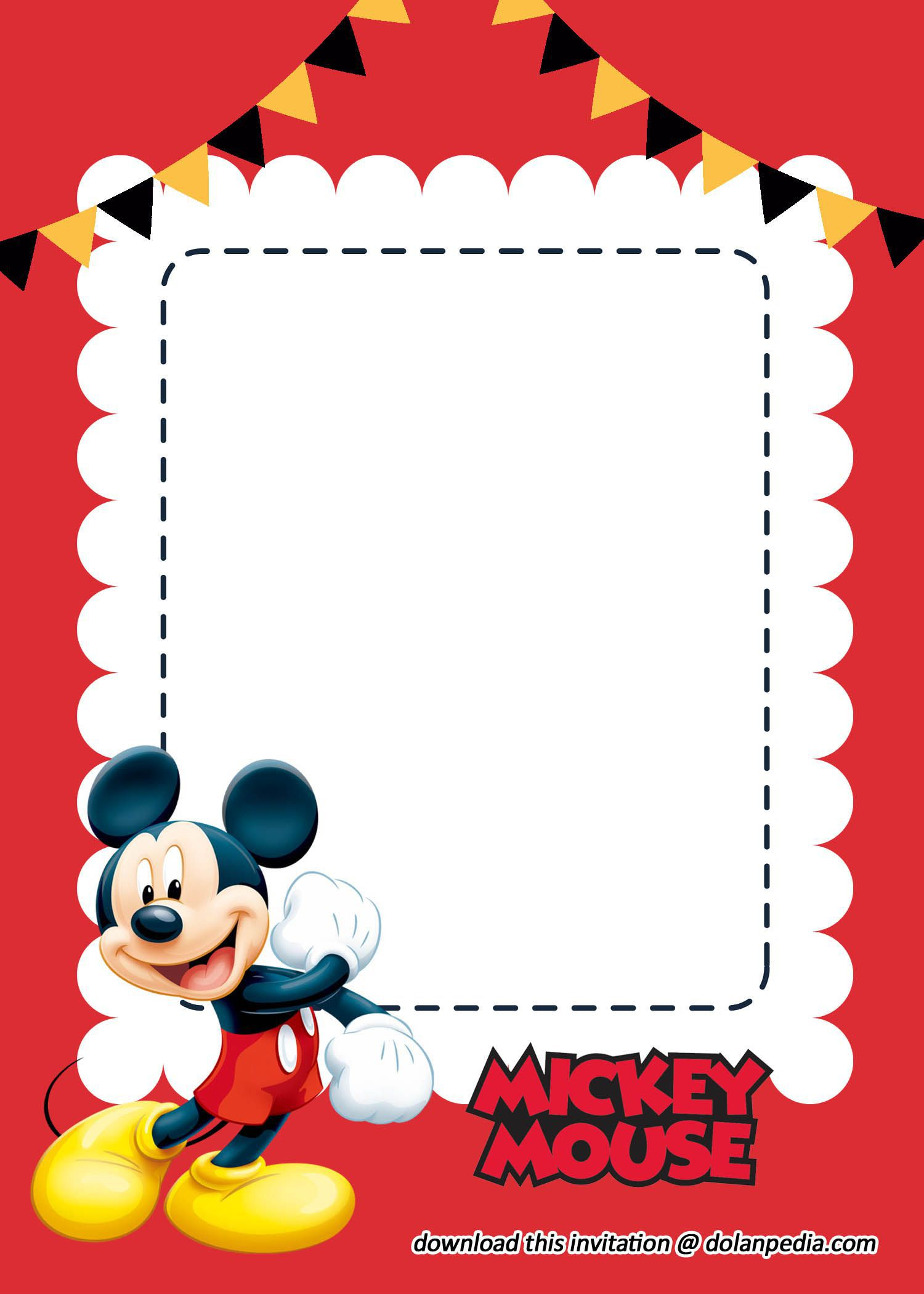 003 Awful Mickey Mouse Invitation Template Highest Clarity  Free Diy 1st Birthday Baby DownloadFull