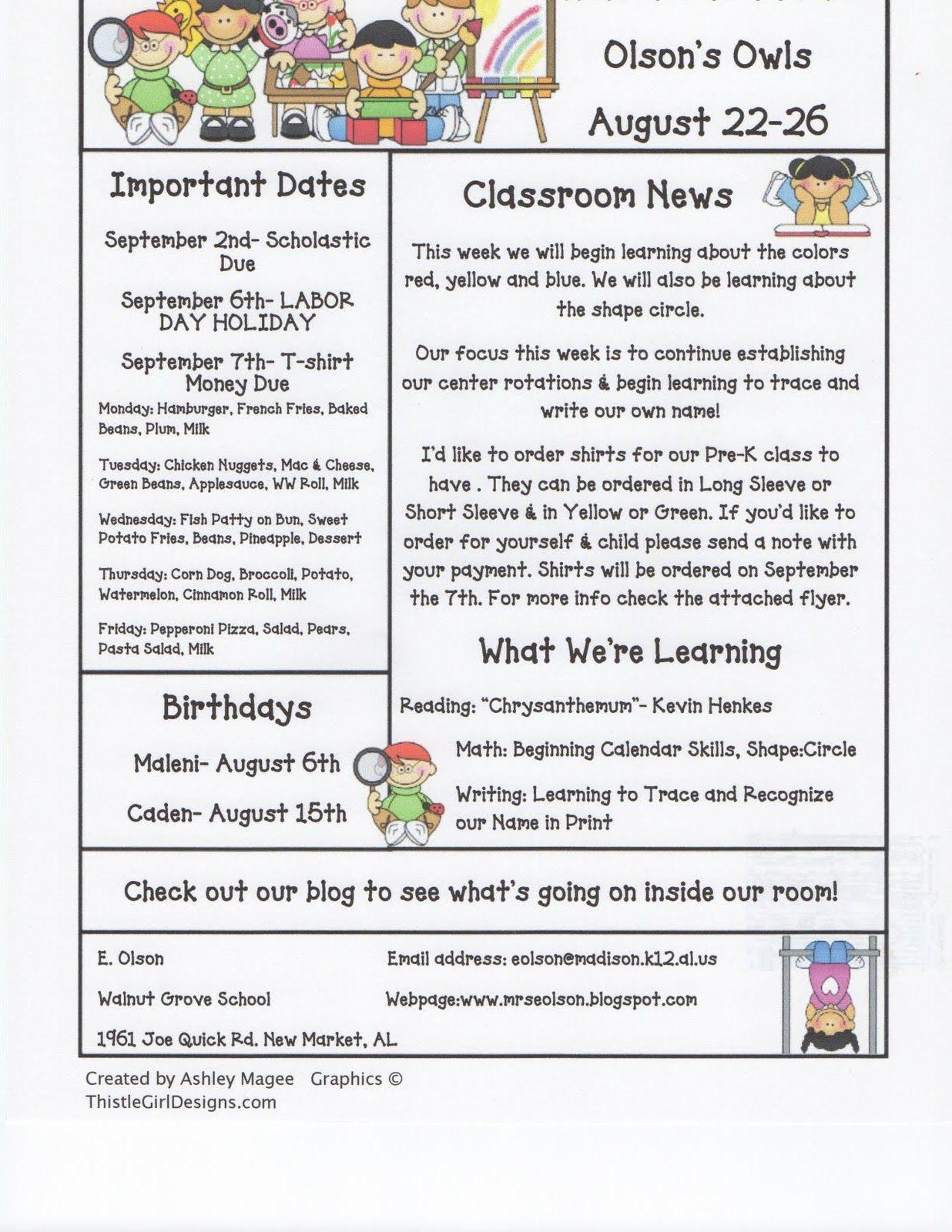 003 Awful Newsletter Template For Teacher To Parent Idea  ParentsFull