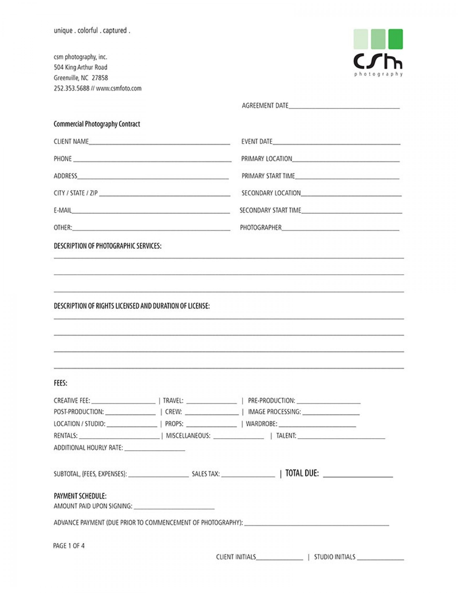003 Awful Photography Contract Template Pdf Concept  Free Portrait1920