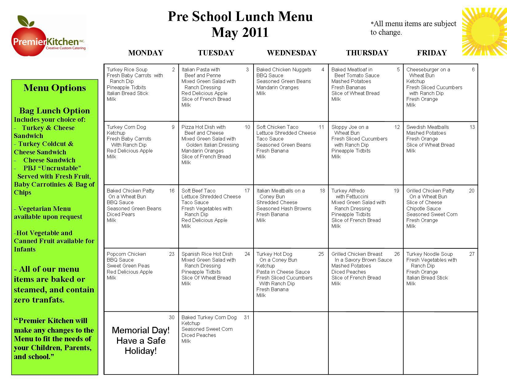 003 Awful School Lunch Menu Template Concept  Monthly Free Printable BlankFull