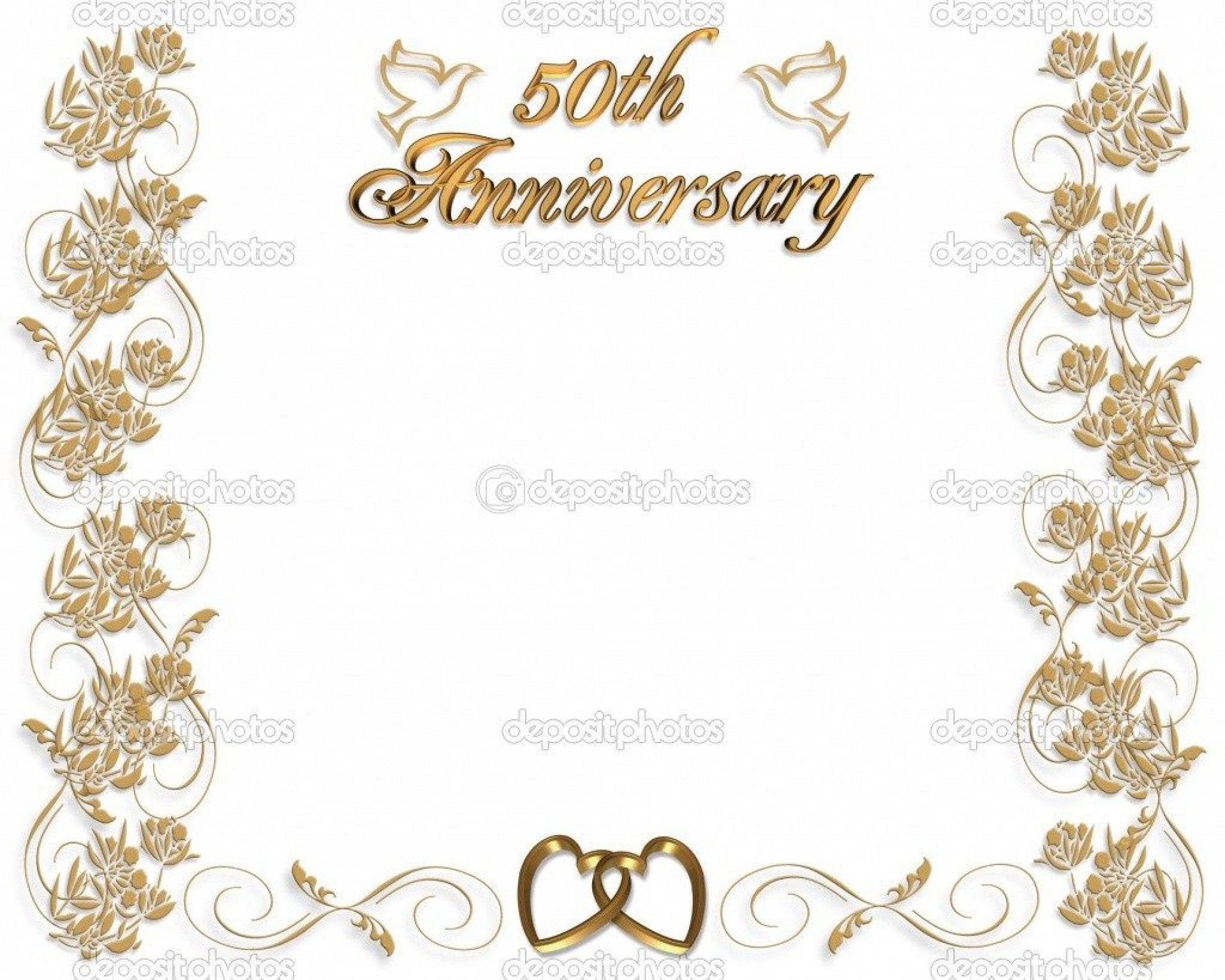 003 Beautiful 50th Wedding Anniversary Invitation Template Free Download Highest Clarity  Golden1920