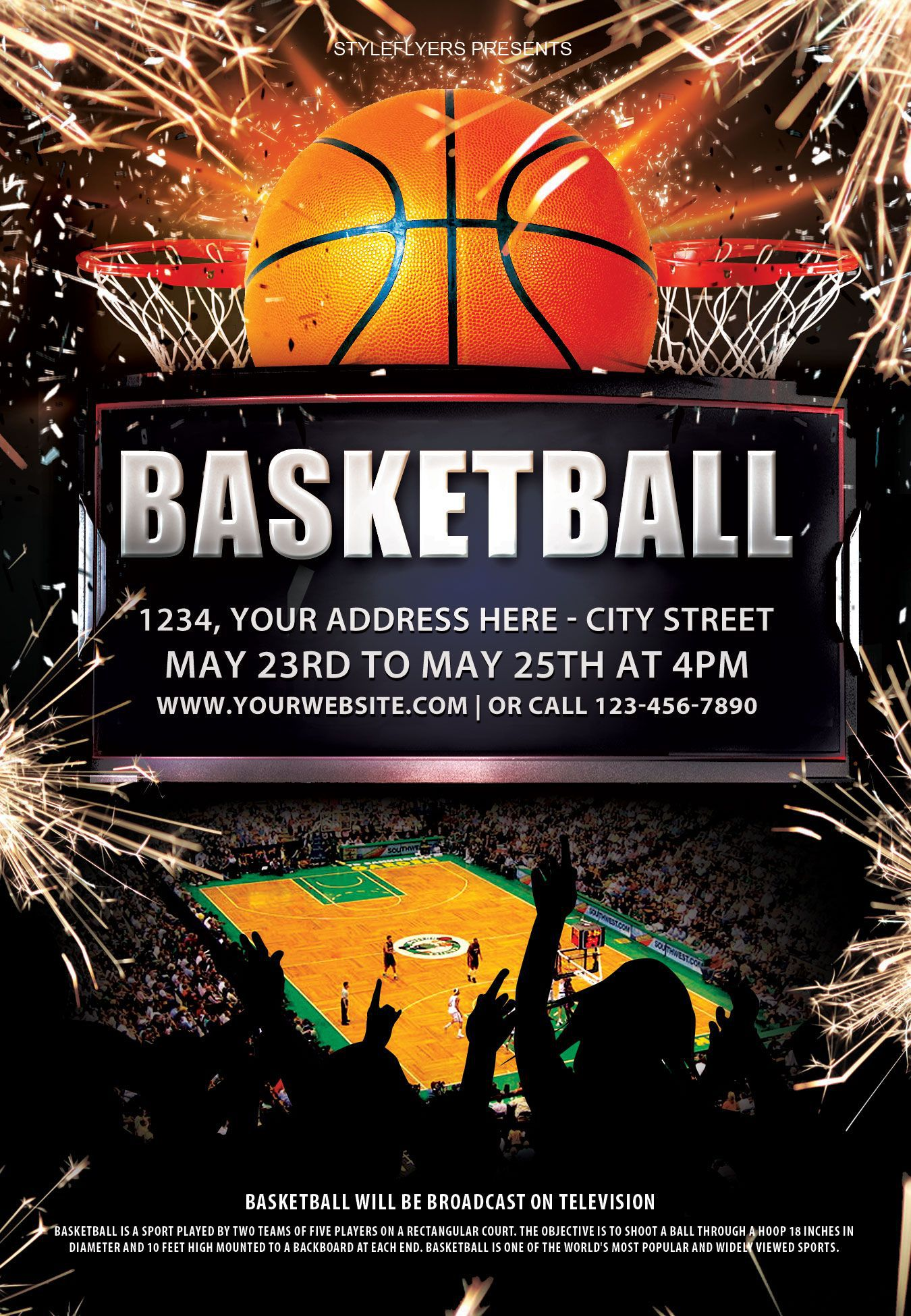 003 Beautiful Basketball Flyer Template Free Photo  Brochure Tryout CampFull