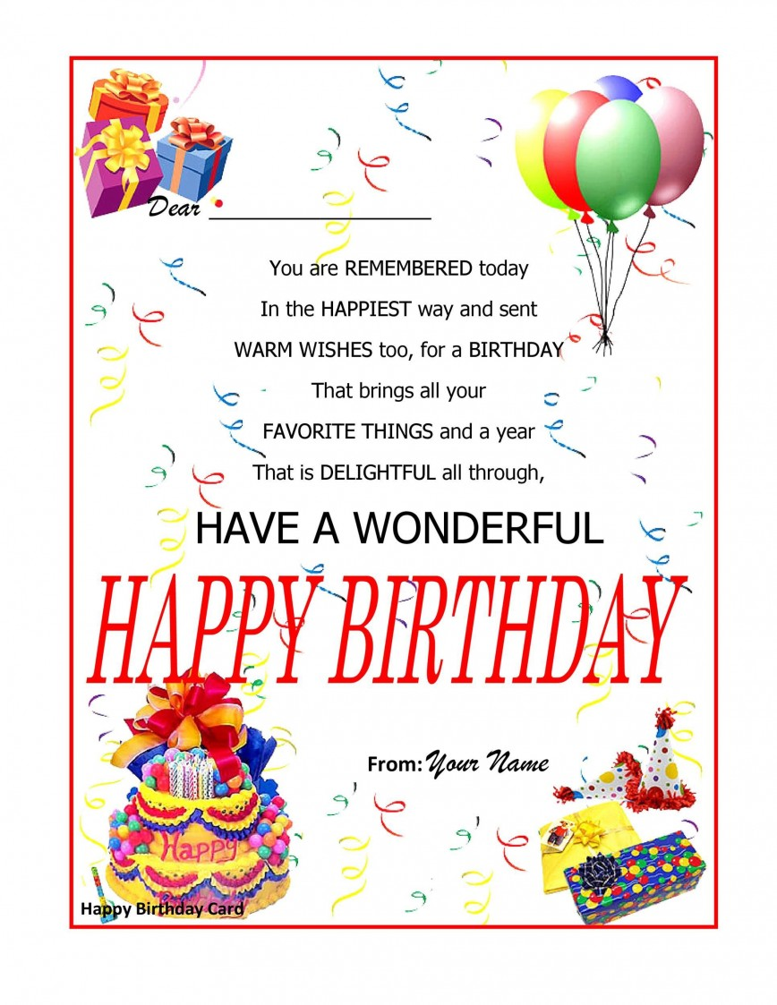 003 Beautiful Birthday Card Template Word Example  2013 Free Blank For 5x7 Greeting