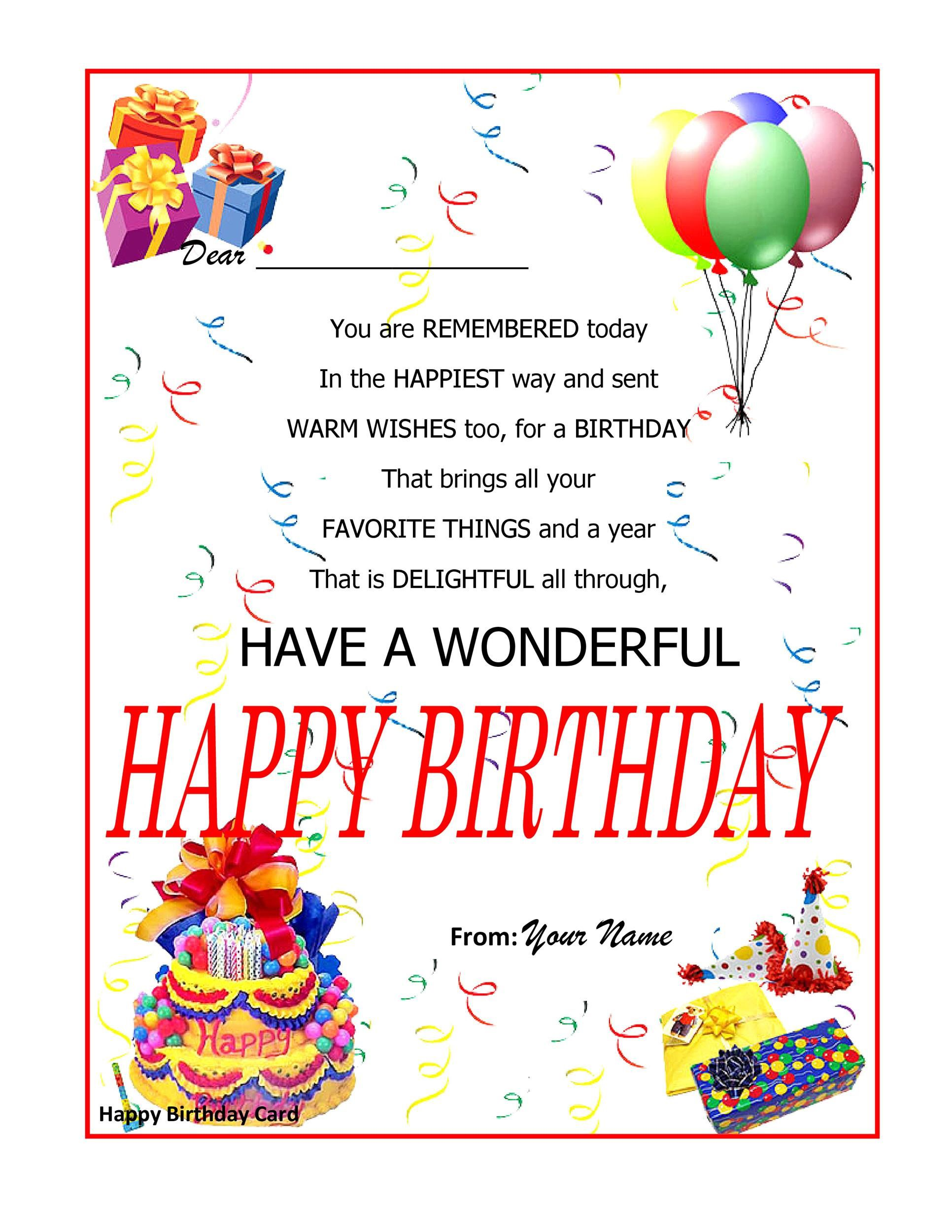 003 Beautiful Birthday Card Template Word Example  Blank Greeting Microsoft 2010Full