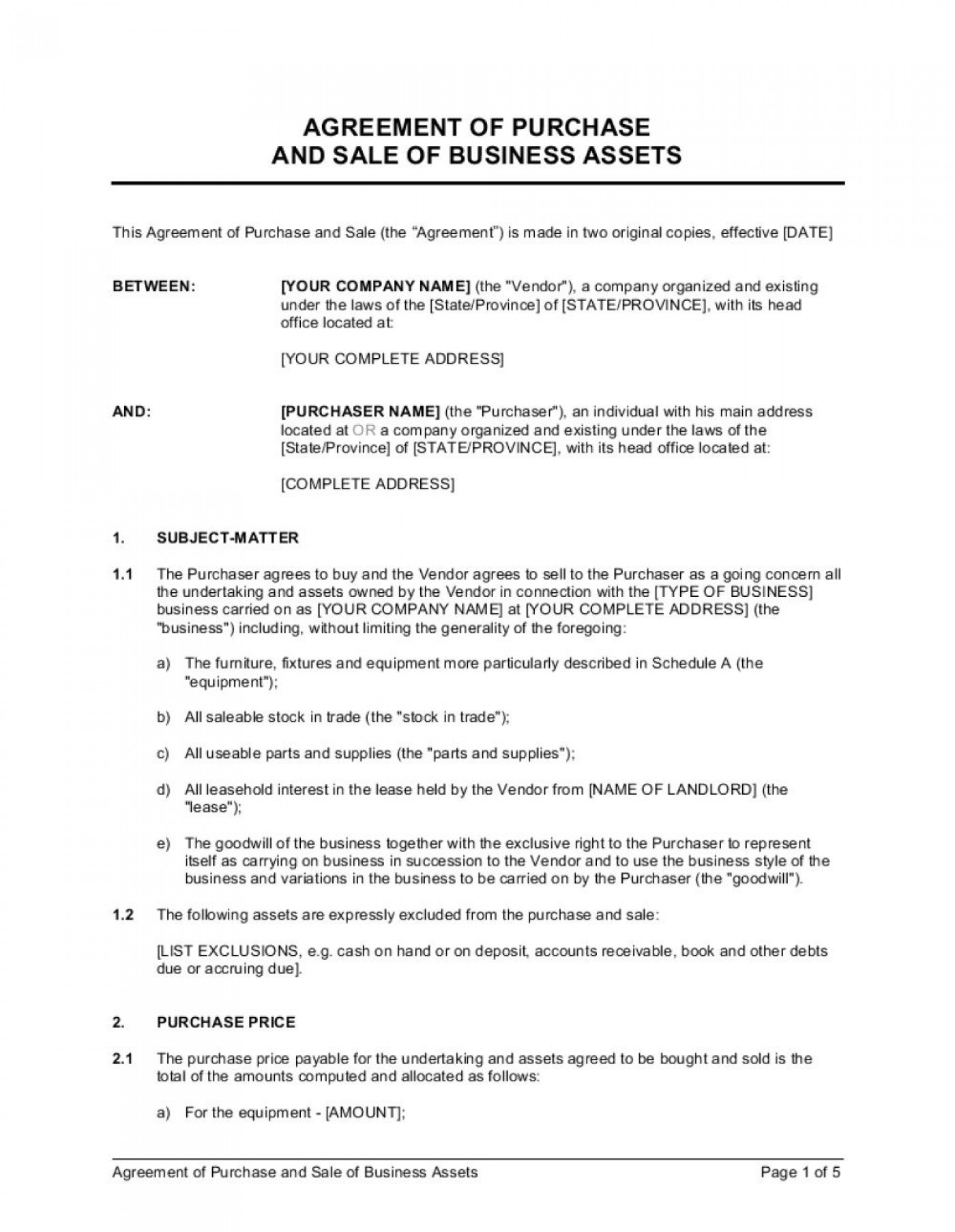 003 Beautiful Busines Sale Agreement Template Inspiration  Western Australia Free Uk Download South Africa1400