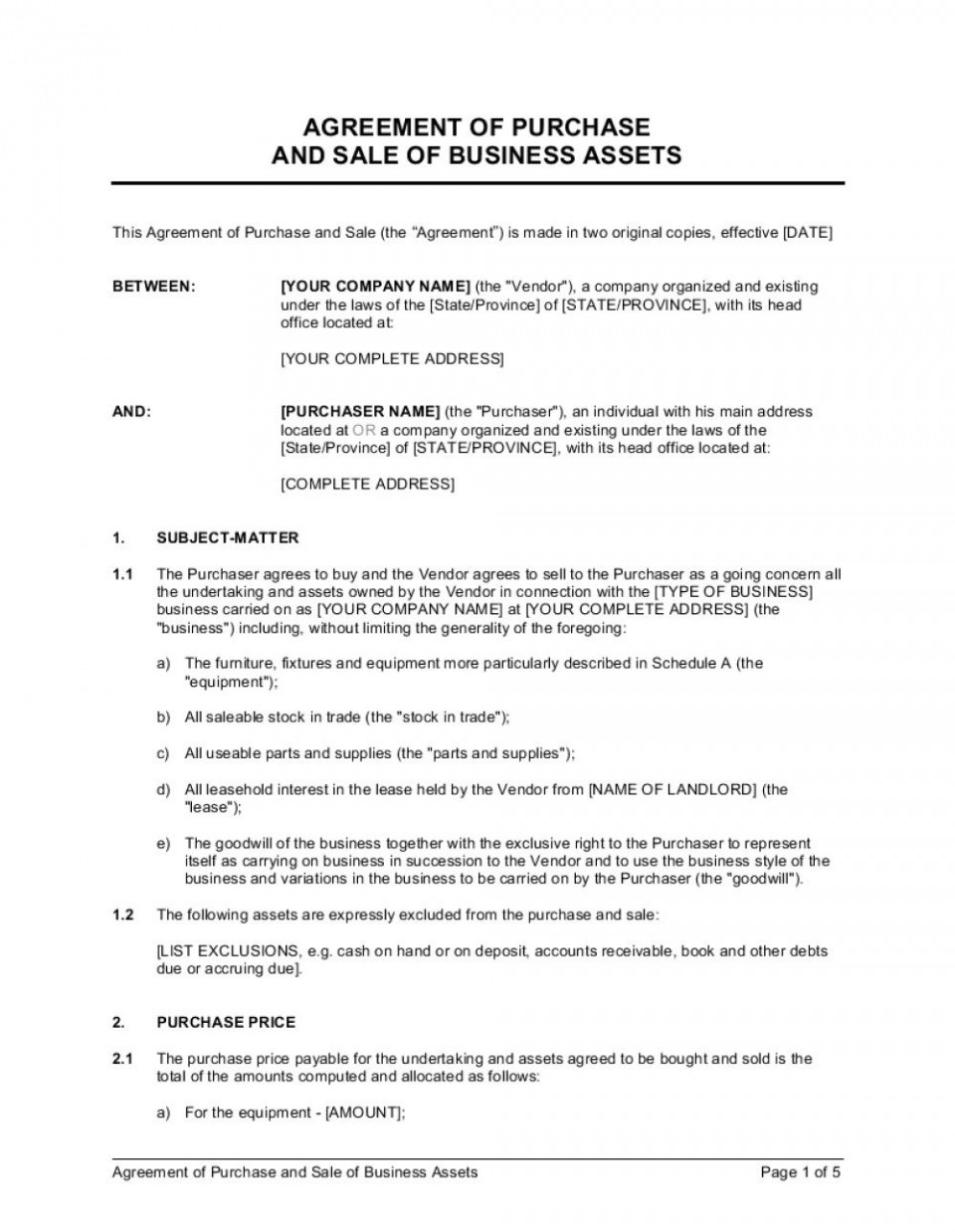 003 Beautiful Busines Sale Agreement Template Inspiration  Western Australia Free Uk Download South Africa960