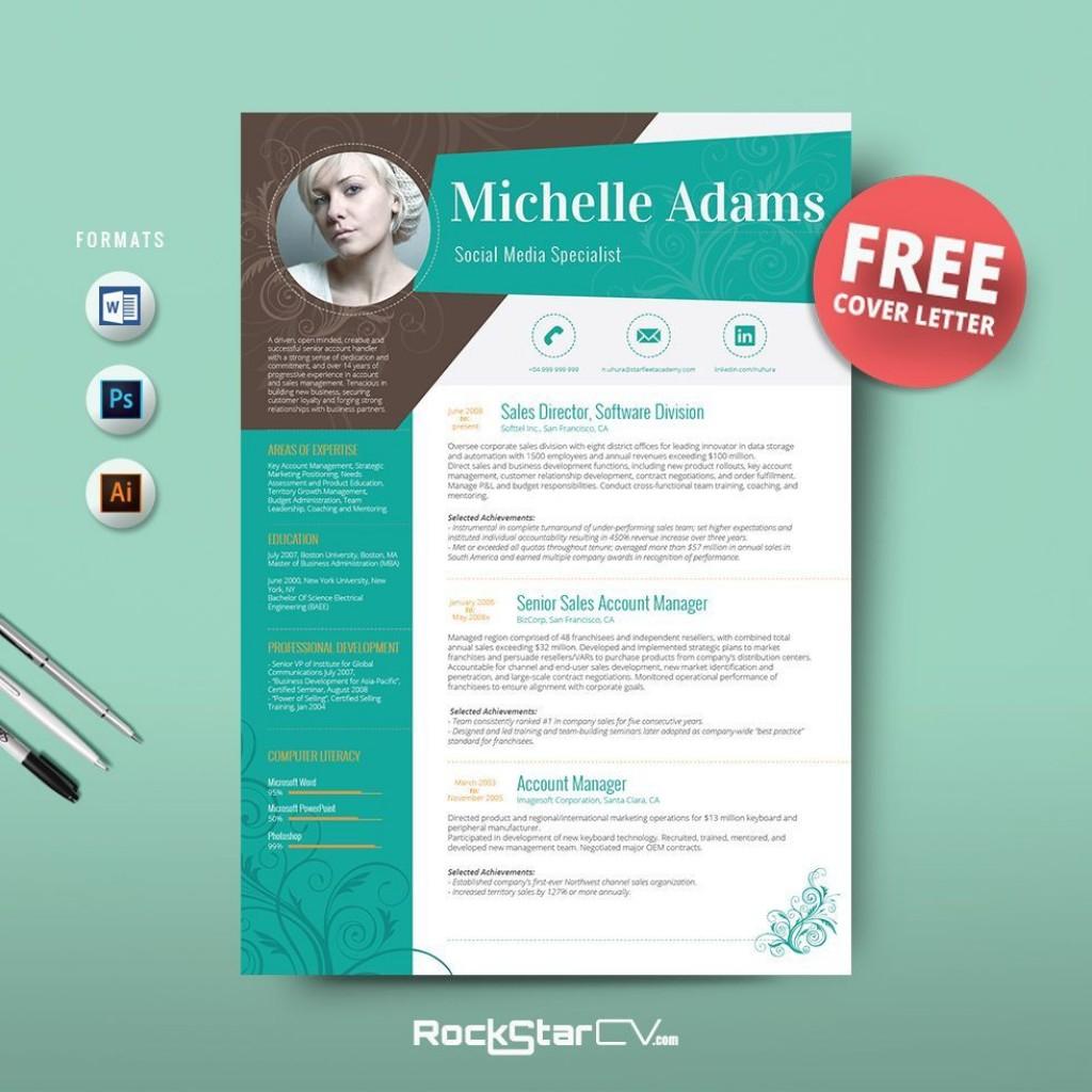 003 Beautiful Creative Resume Template M Word Free Photo Large