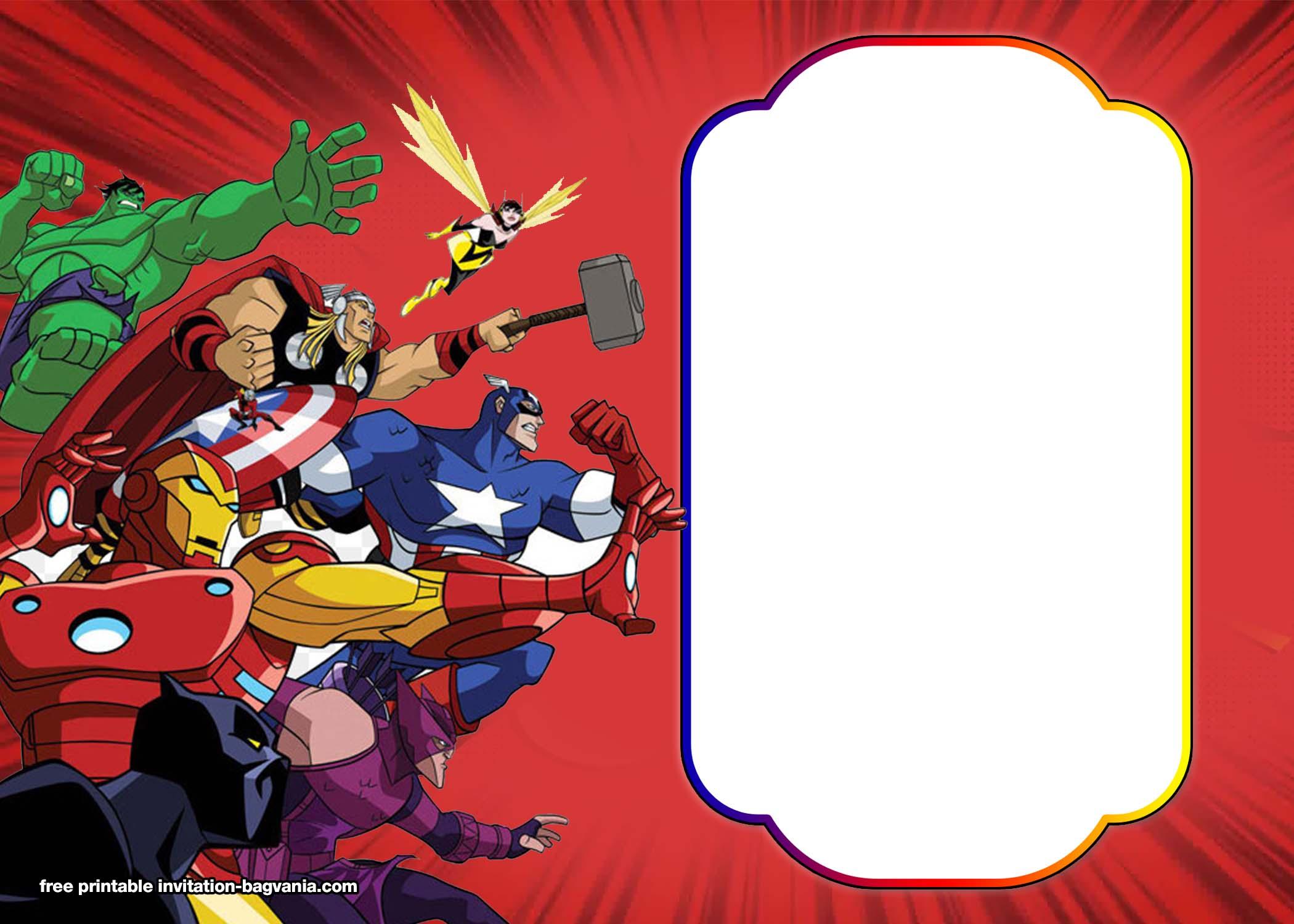 003 Beautiful Editable Superhero Invitation Template Free Image Full