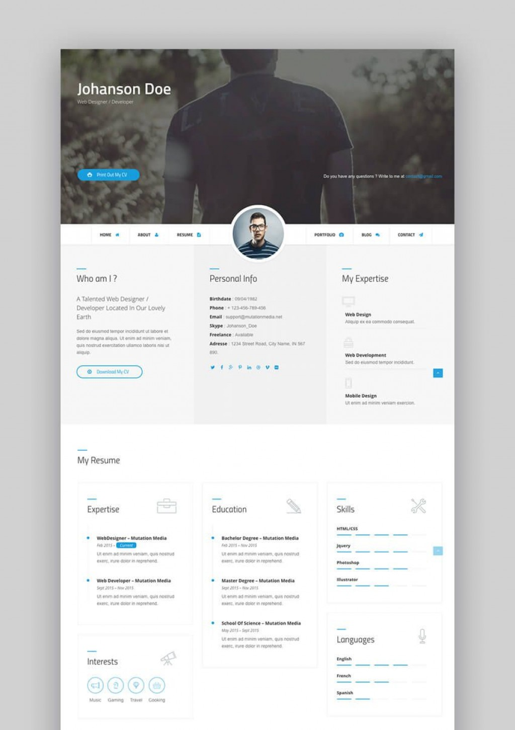 003 Beautiful Free Html Resume Template Idea  Html5 Best Cv Desmond / DownloadLarge