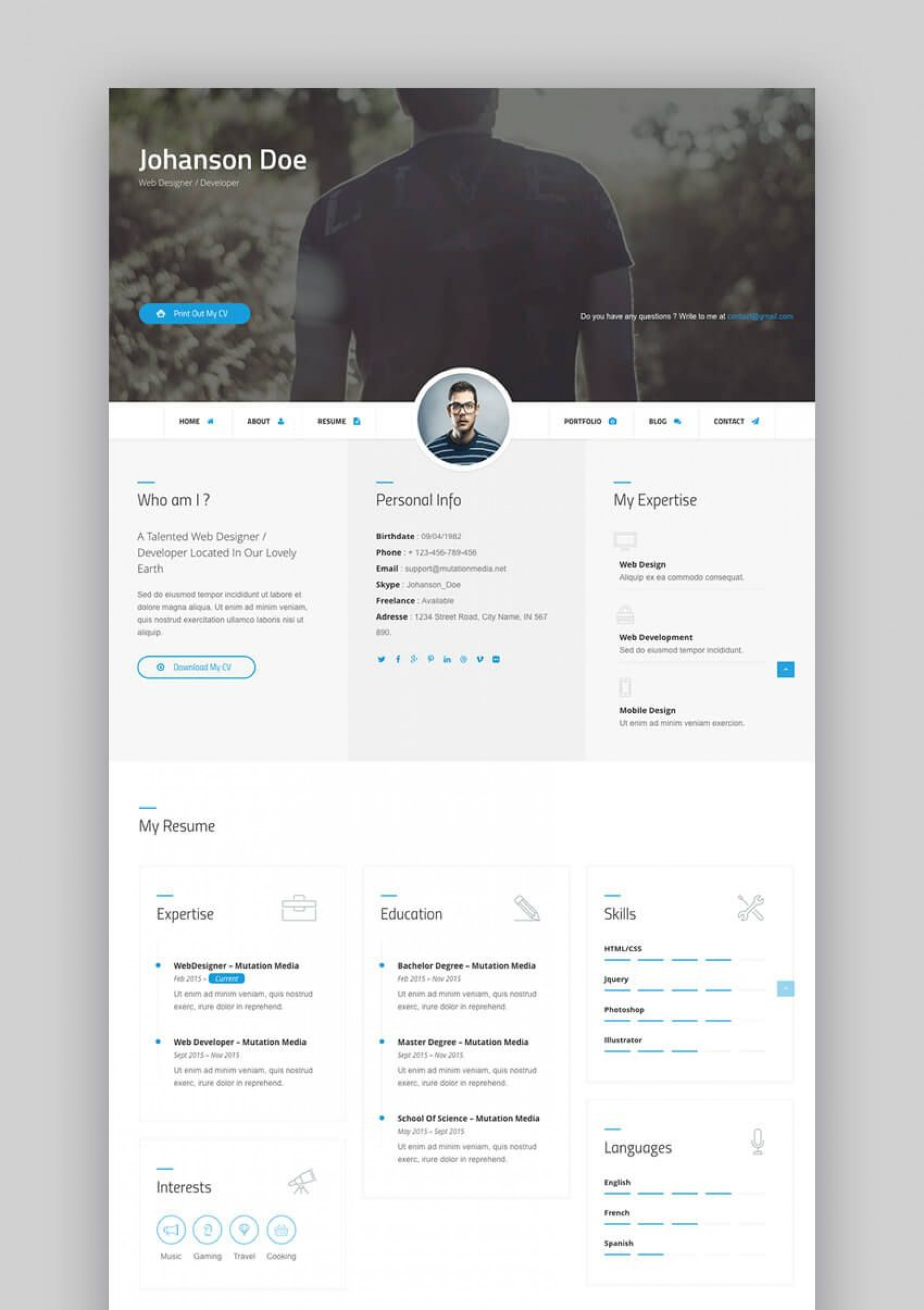 003 Beautiful Free Html Resume Template Idea  Html5 Best Cv Desmond / Download1920