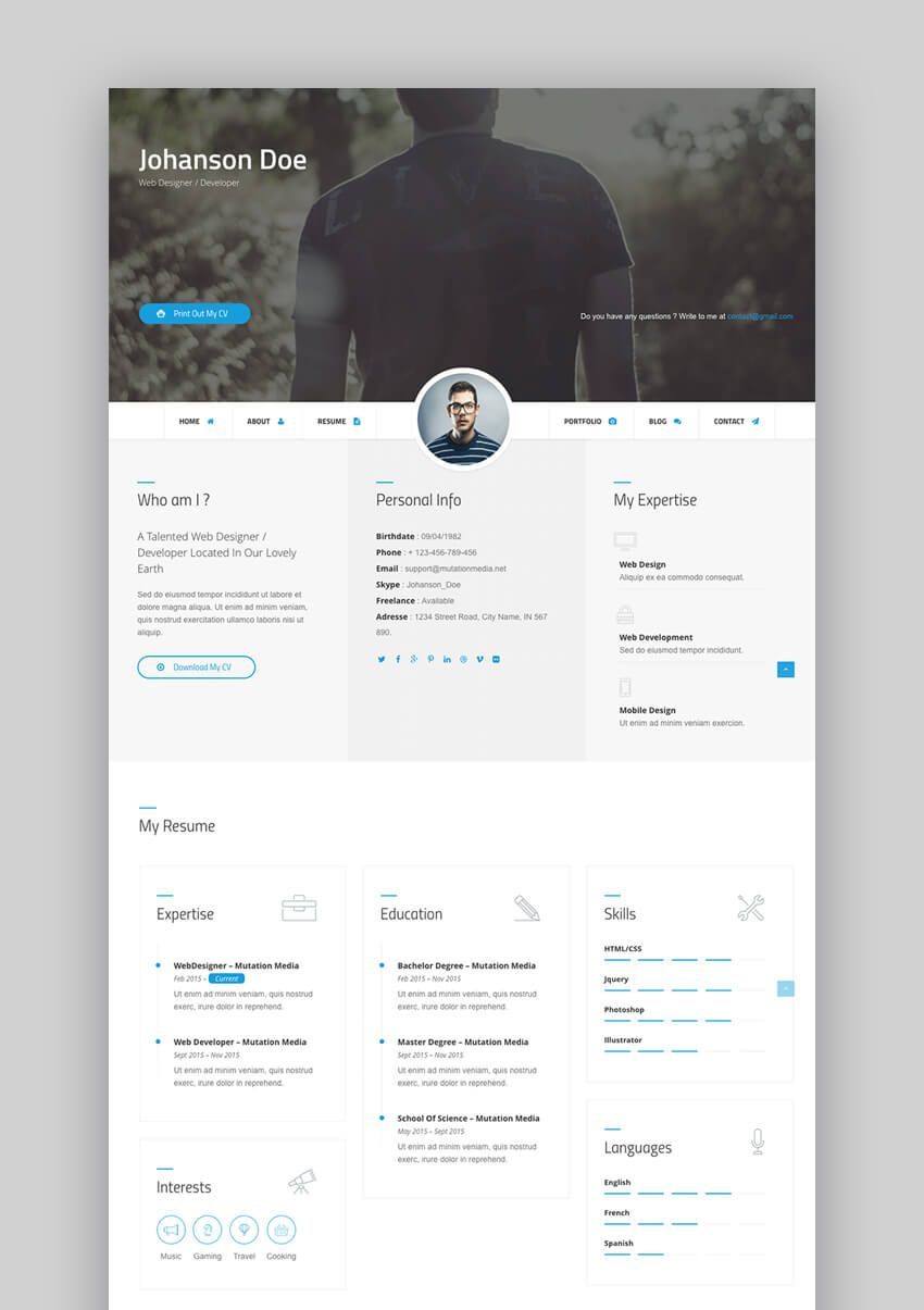 003 Beautiful Free Html Resume Template Idea  Html5 Best Cv Desmond / DownloadFull