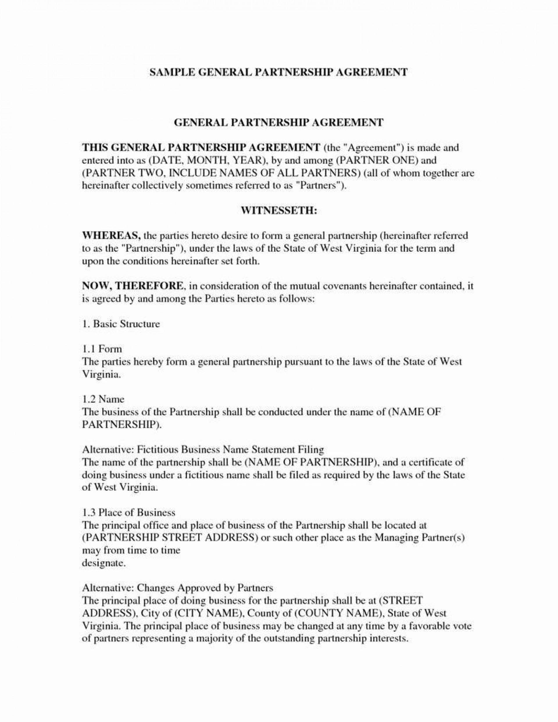 003 Beautiful General Partnership Agreement Template Texa Idea  Texas1920