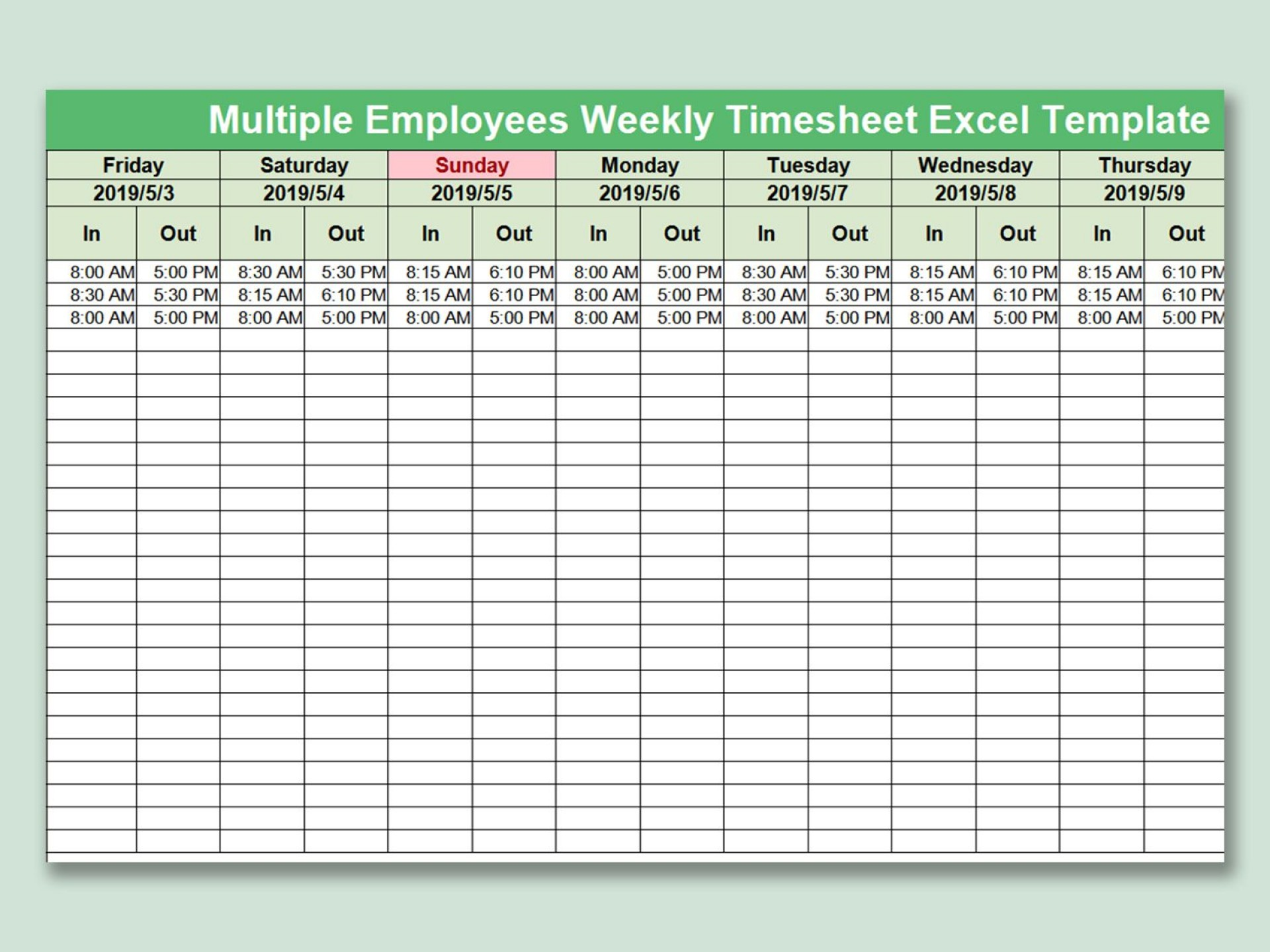003 Beautiful Multiple Employee Time Card Template Inspiration 1920