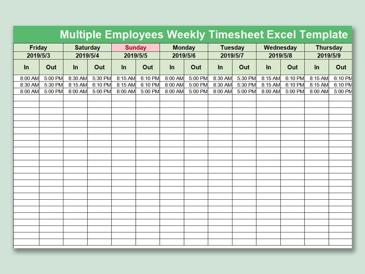 003 Beautiful Multiple Employee Time Card Template Inspiration Full