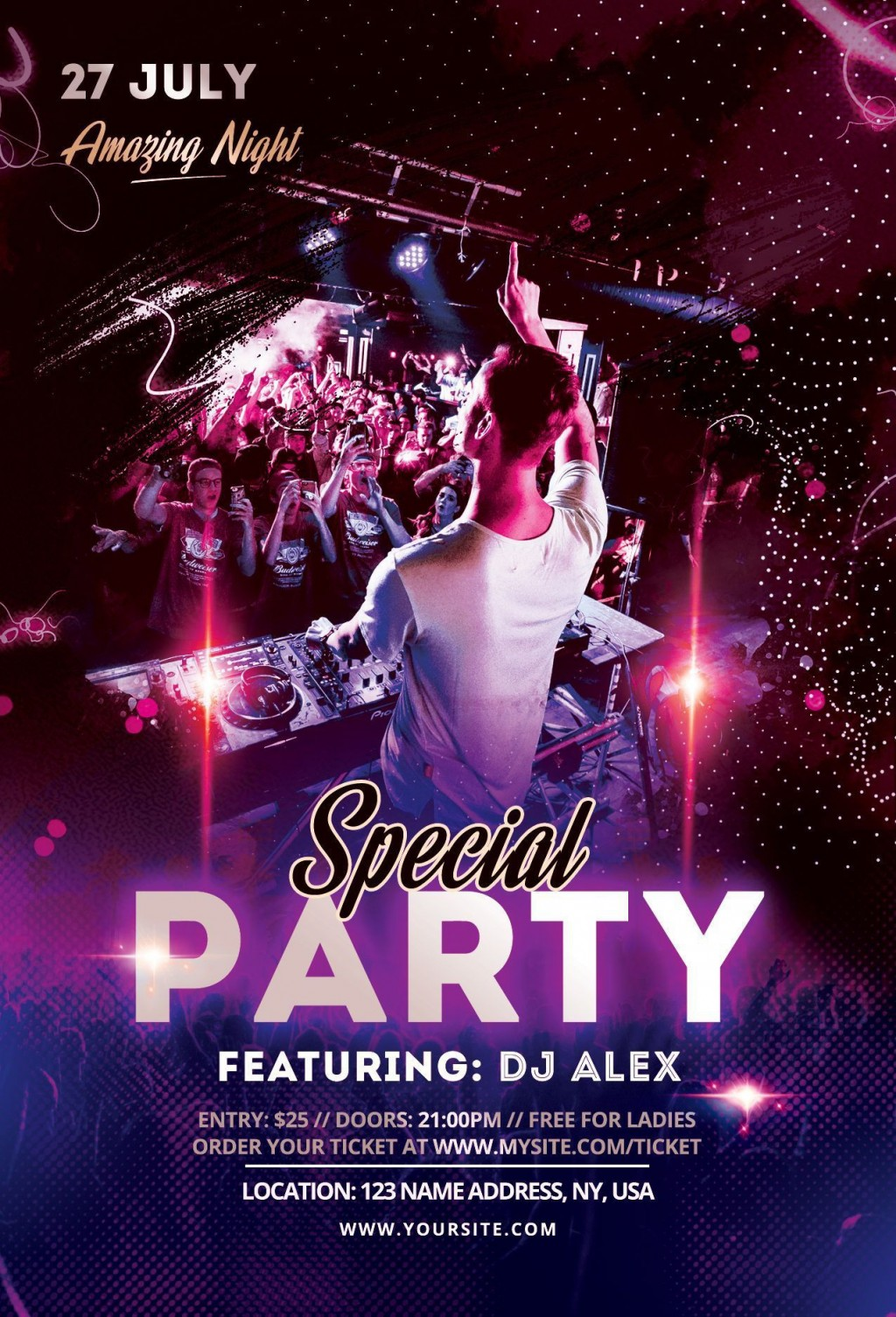 003 Beautiful Party Flyer Psd Template Free Download High Def  RaveLarge