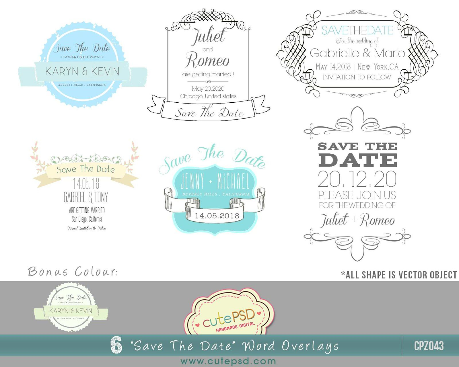 003 Beautiful Save The Date Word Template Concept  Free Birthday For Microsoft Postcard FlyerFull