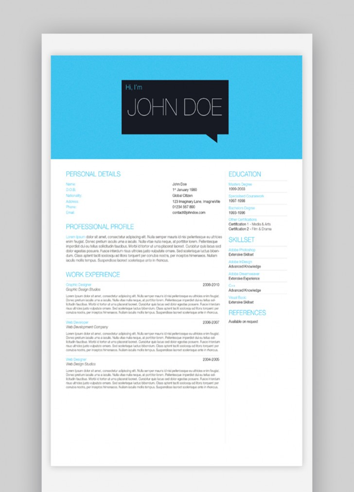 003 Beautiful Single Page Resume Template High Definition  Cascade One Free Download Word For Fresher728