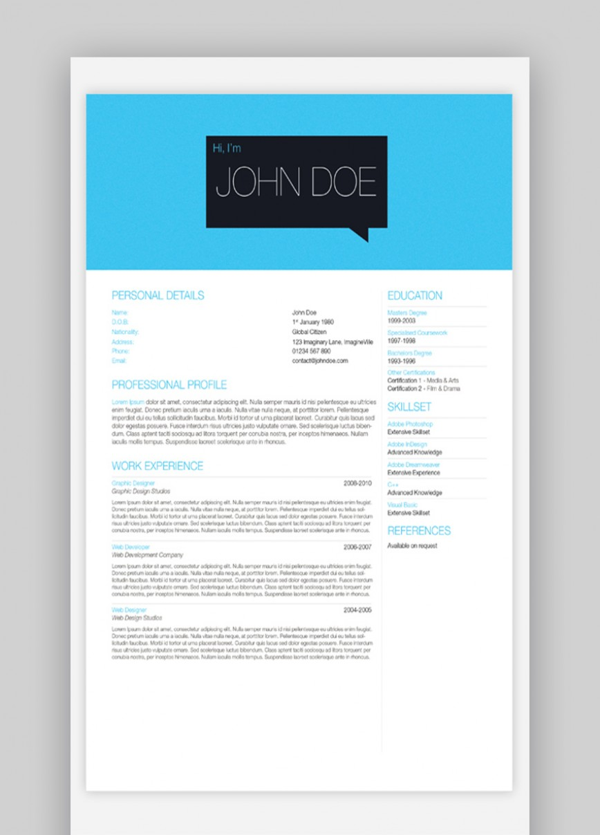 003 Beautiful Single Page Resume Template High Definition  Cascade One Free Download Word For Fresher868