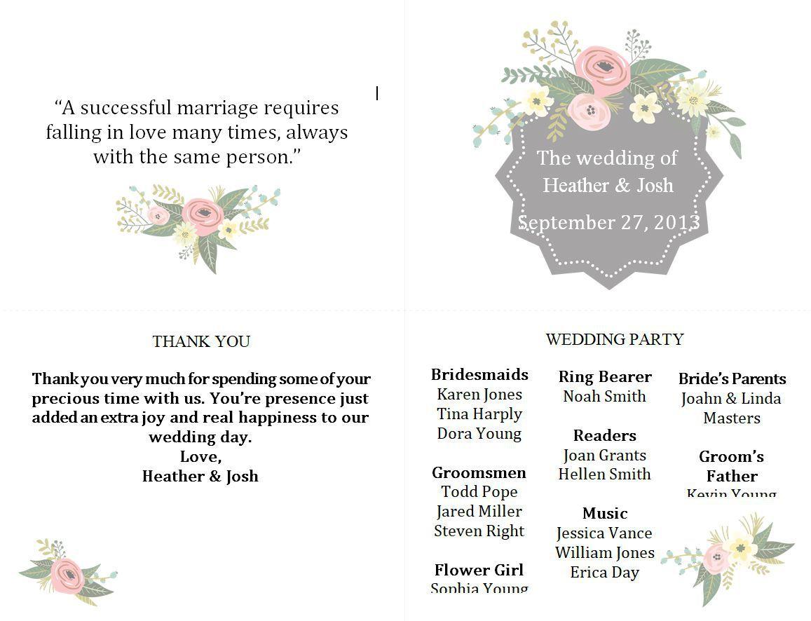 003 Beautiful Wedding Program Template Free Photo  Fan Download ElegantFull