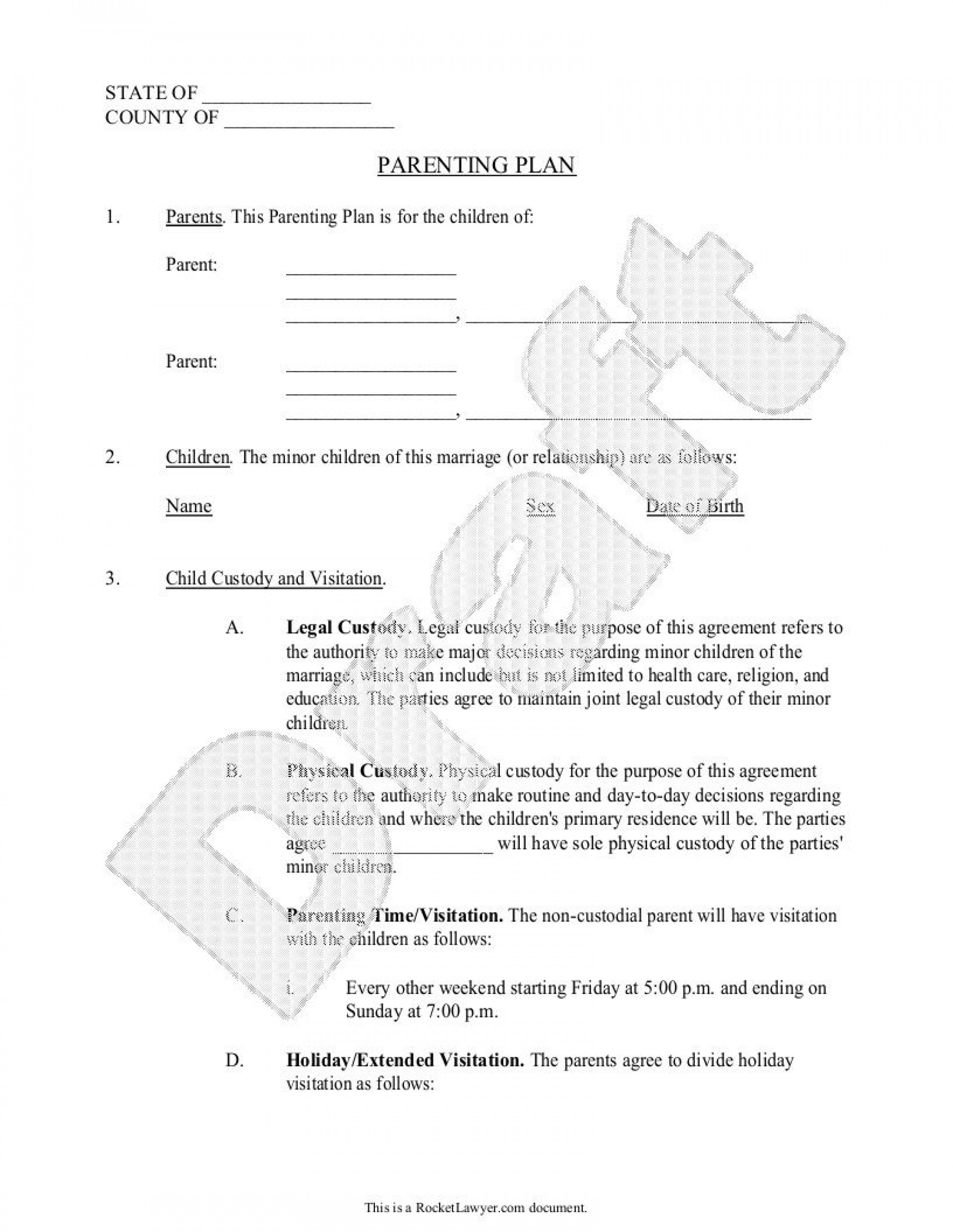 003 Best Child Custody Agreement Template Photo  Texa Nc Visitation Uk1920