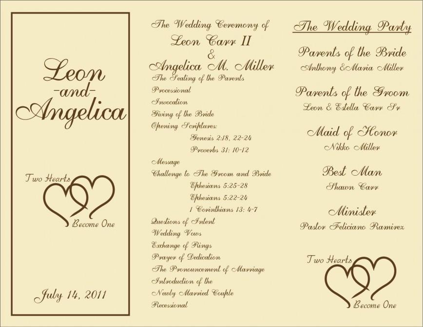 Wedding Program Template Free Word from www.addictionary.org