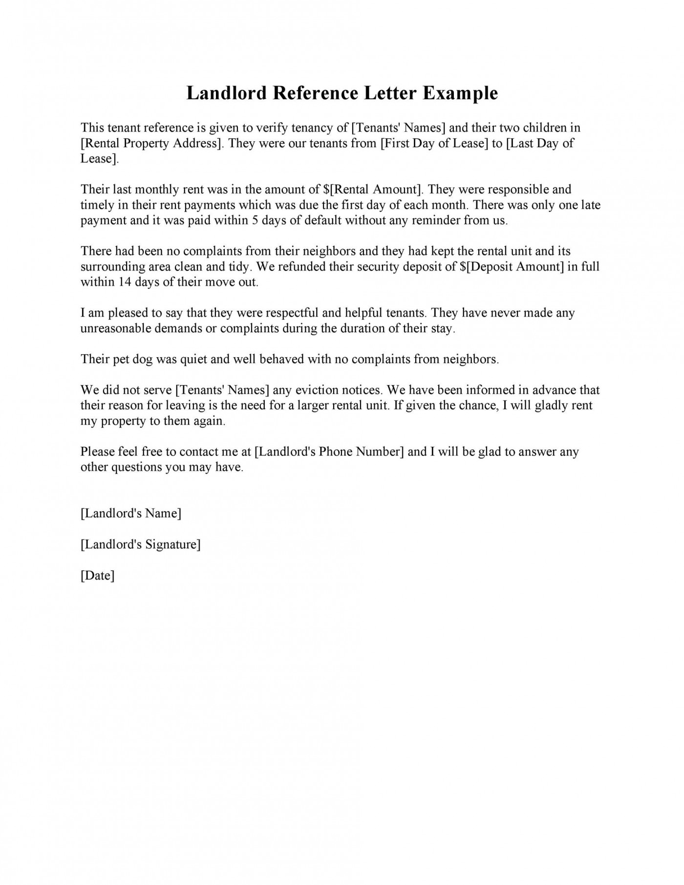 003 Best Free Reference Letter Template For Landlord Image  Rental1400