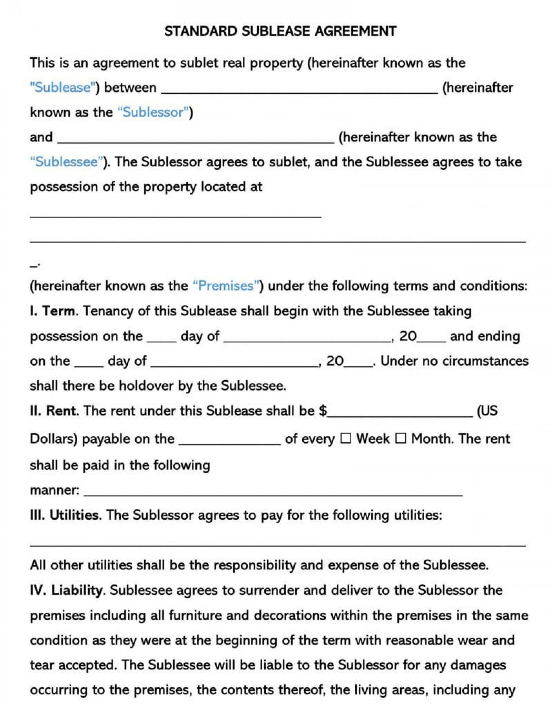 003 Best Free Sublease Agreement Template Pdf High Def  Room Rental Car Form Residential Lease1920