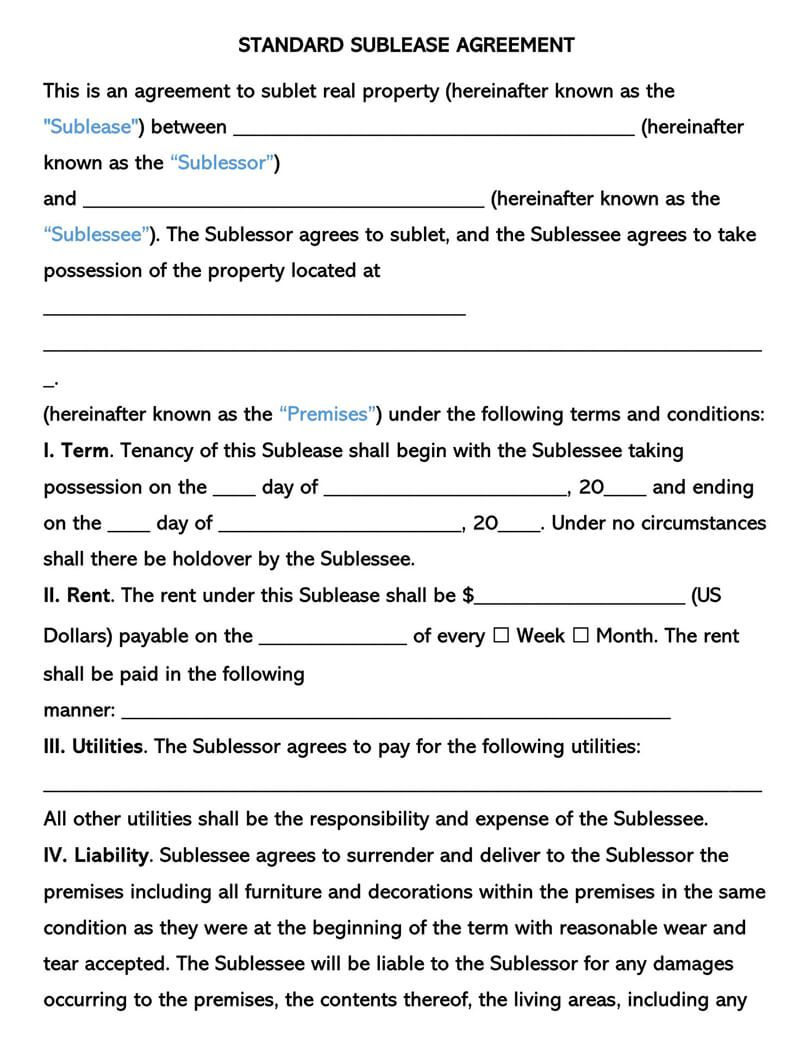 003 Best Free Sublease Agreement Template Pdf High Def  Room Rental Car Form Residential LeaseFull